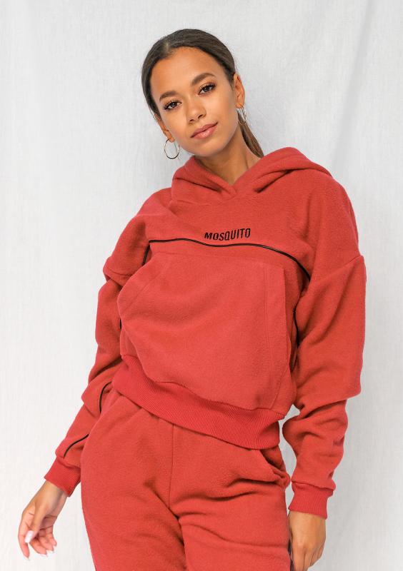 Roter Fleece Hoodie