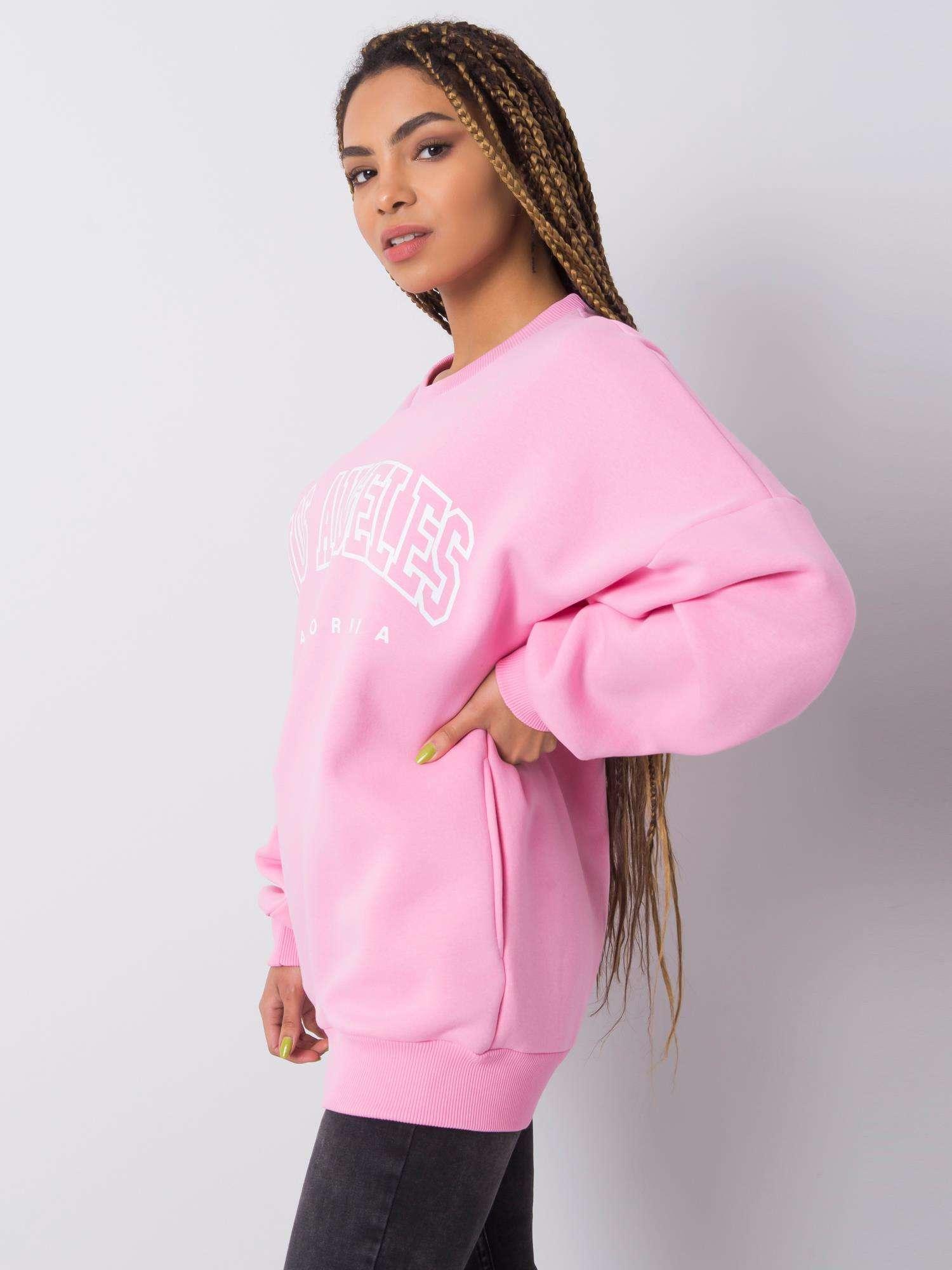 Sweatshirt in Rosa mit Aufdruck Seitenansicht