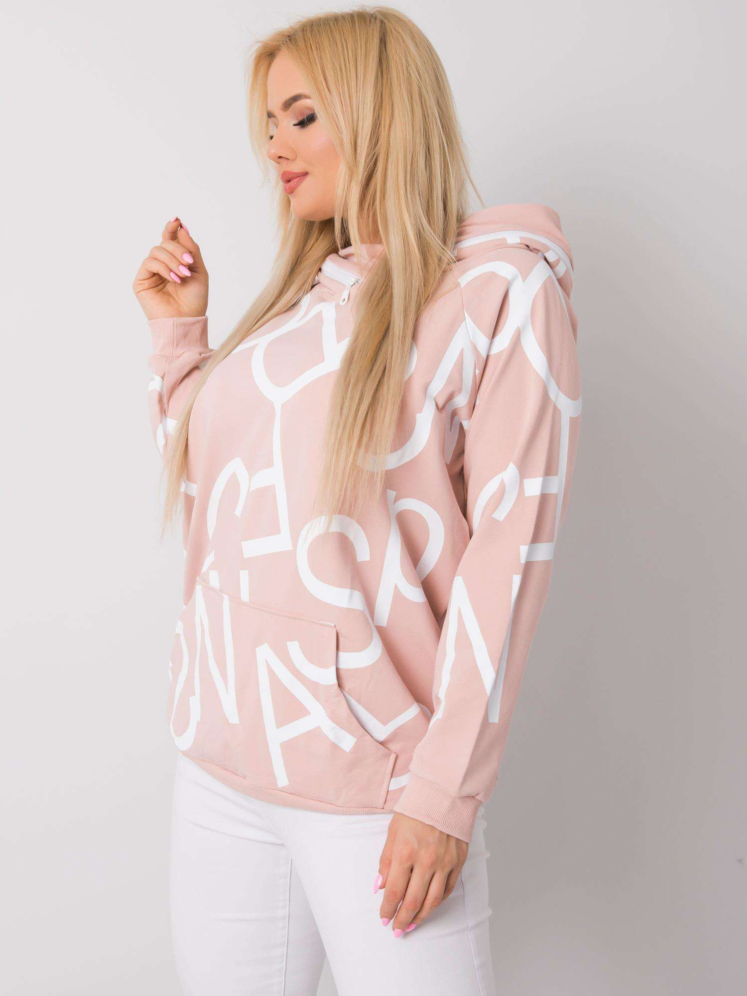 Hoodie mit Print in Rosa Seitenansicht