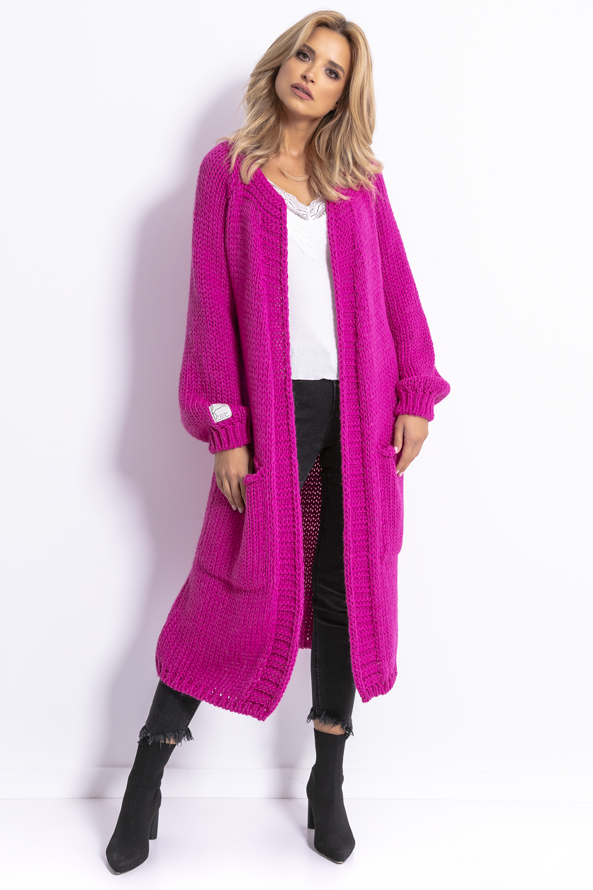 Strickcardigan in Pink mit Taschen