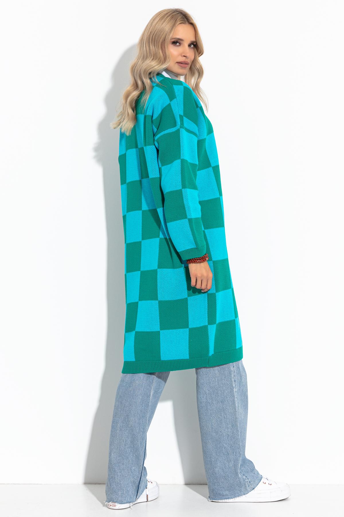 Cardigan in Lang mit blau-grünem Schachbrettmuster Rückansicht