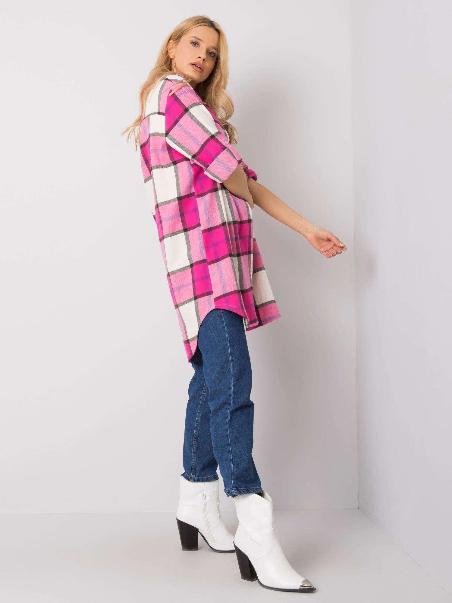 Hemdbluse in pink weiß karierte Seitenansicht