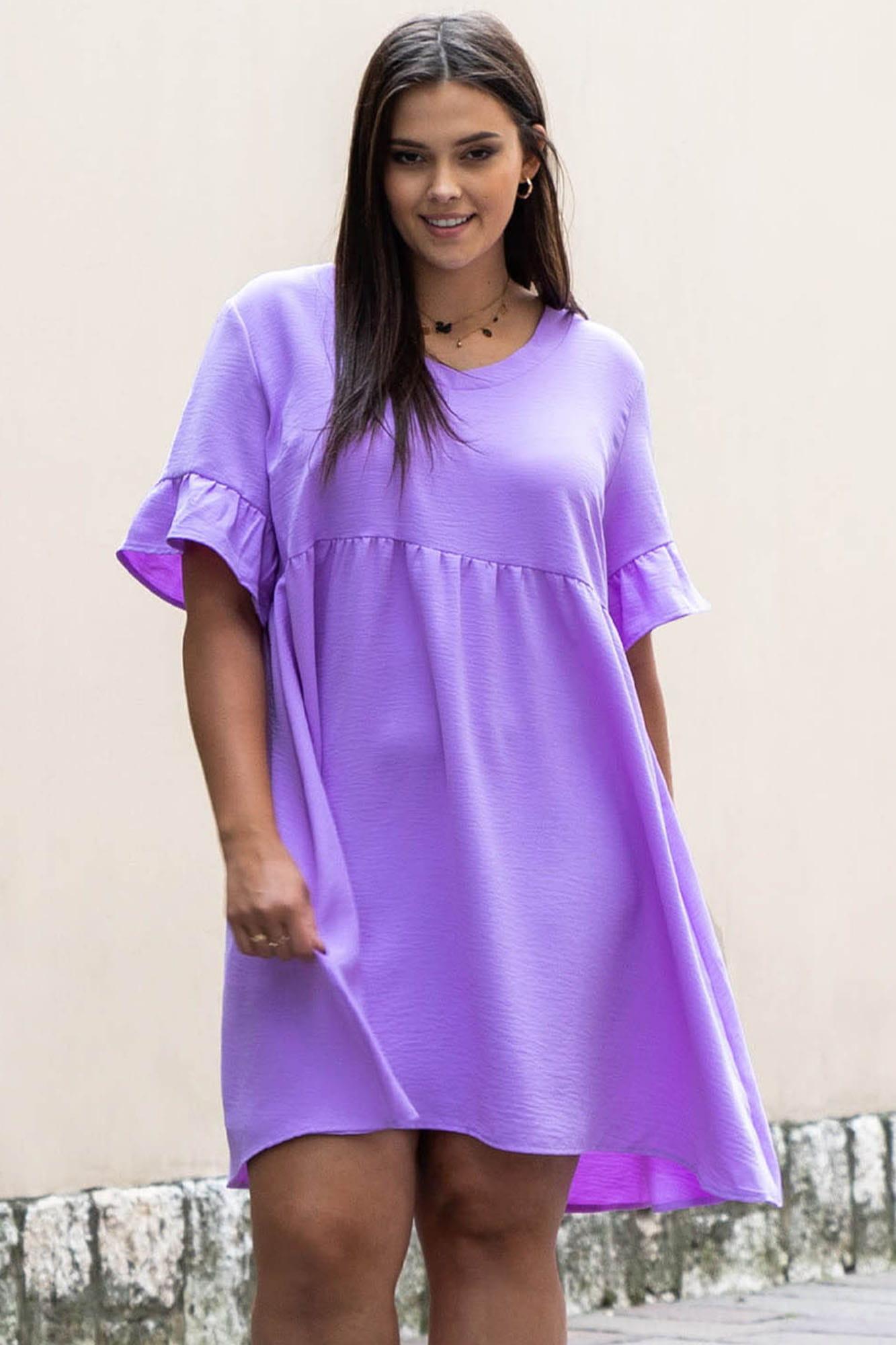 Kleid in Flieder mit V-Ausschnitt Vorderansicht