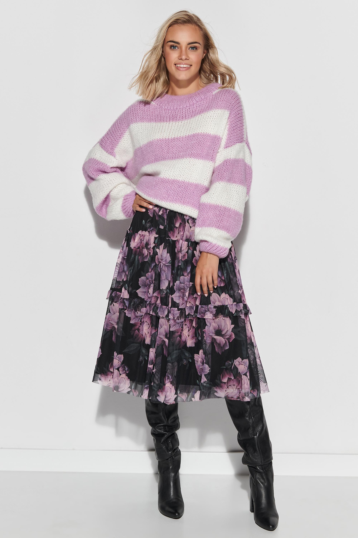 Sweater in Ecru-Weiß mit Lila gestreift Komplettansicht