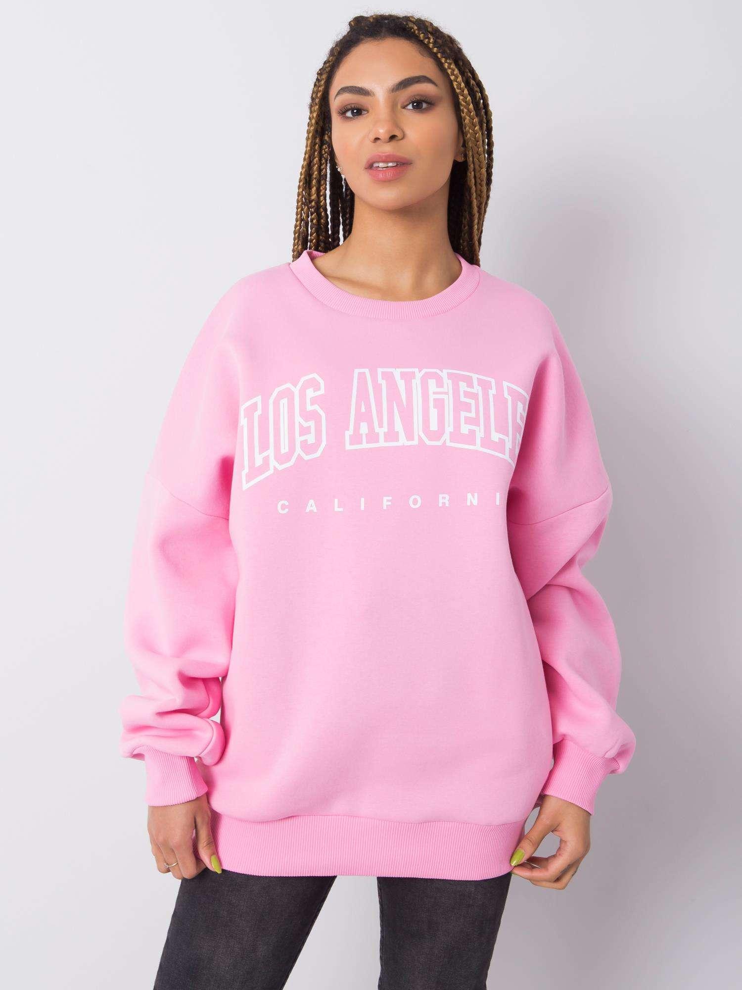 Sweatshirt in Rosa mit Aufdruck Komplettansicht