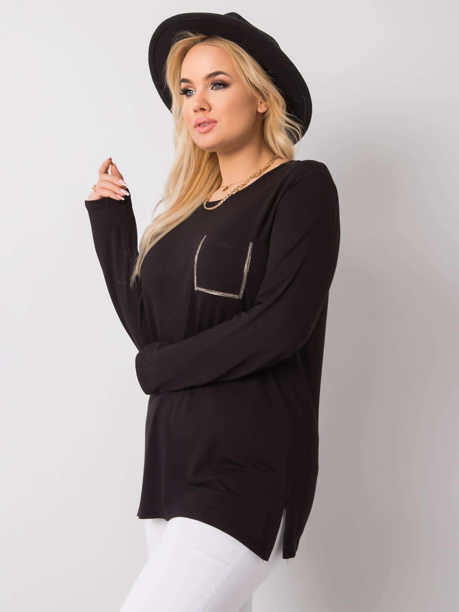 Longshirt in Schwarz mit Brusttasche Seitenansicht