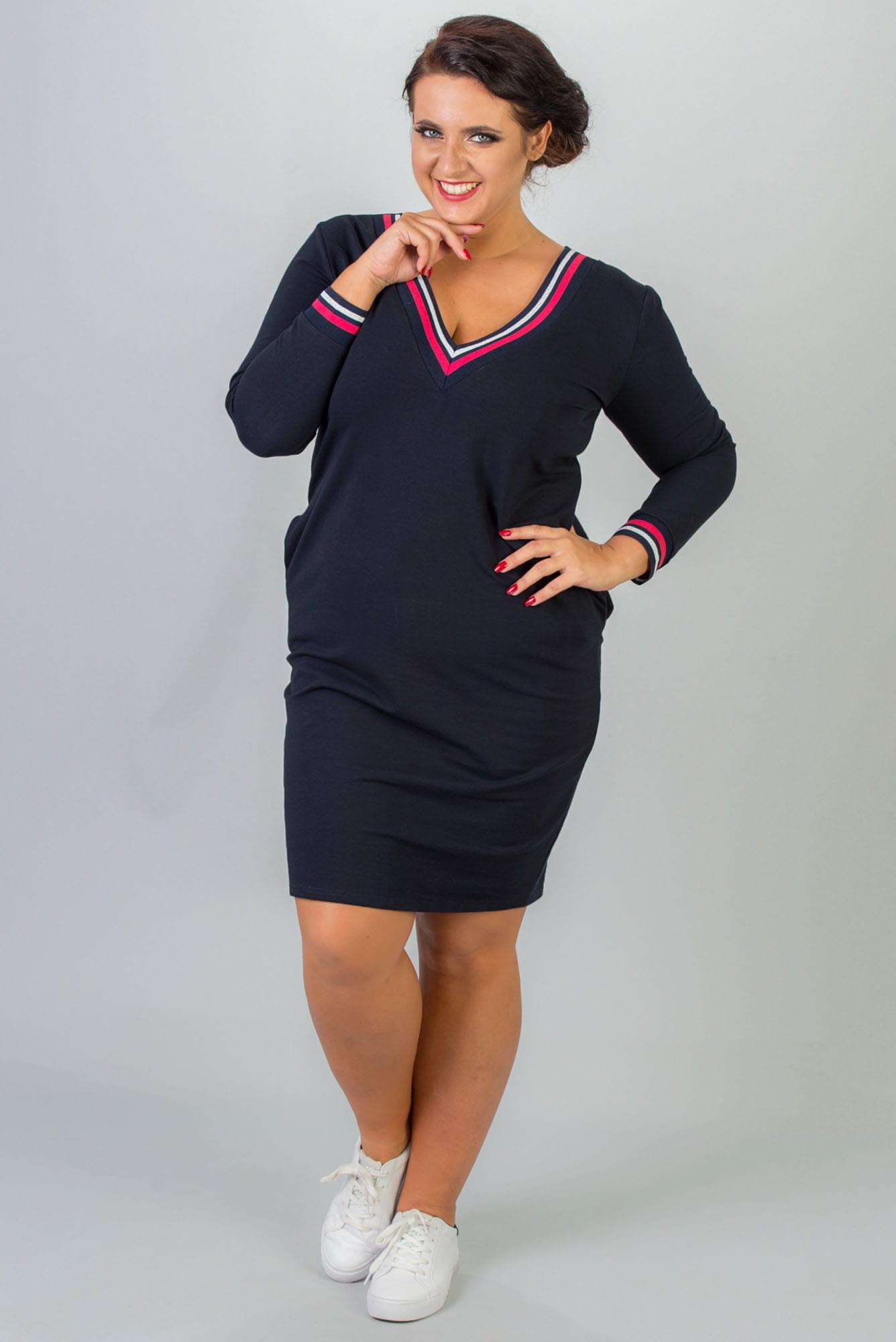 Kleid mit V-Ausschnitt in Marineblau geneigte Vorderansicht