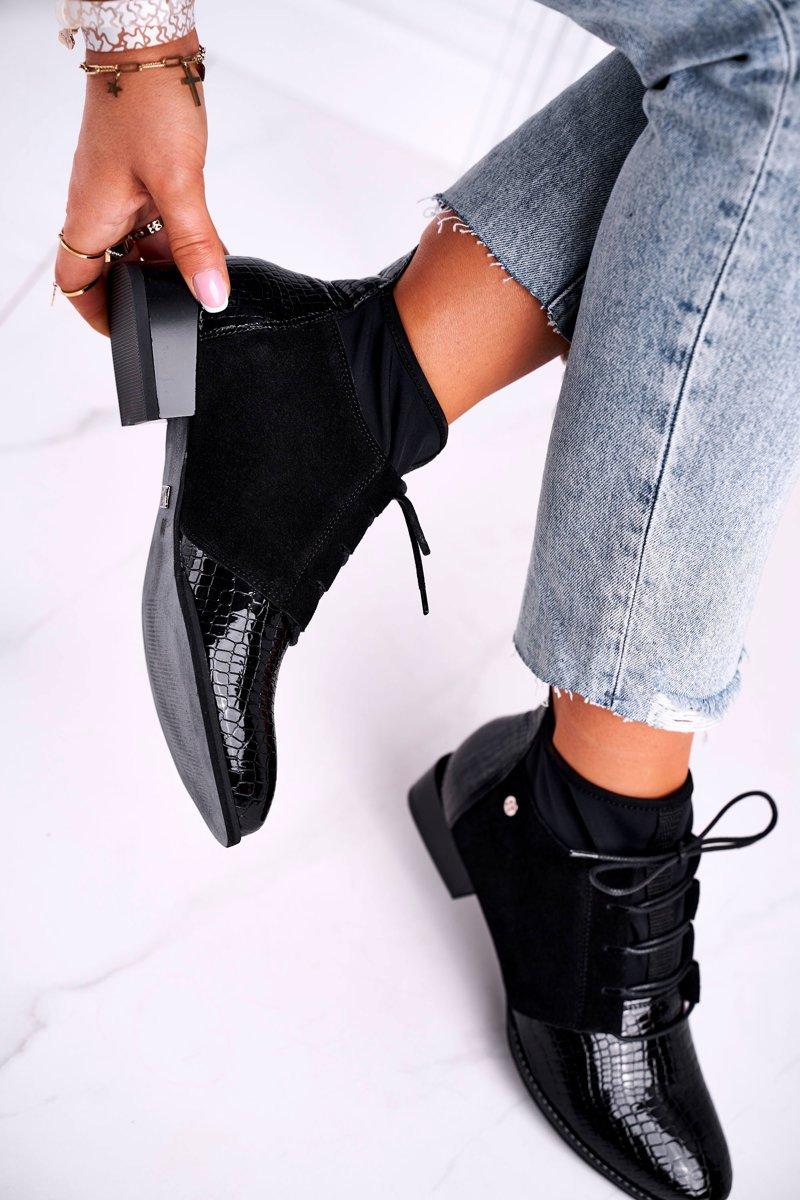 Schwarze Ankle Boots zum Schnüren