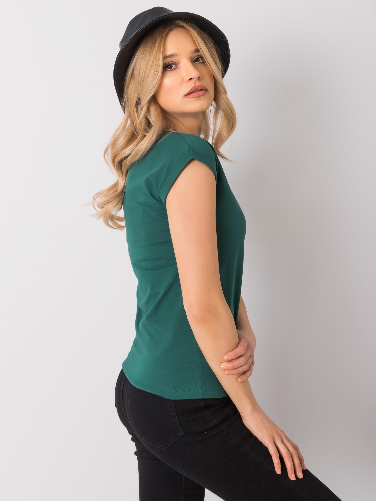 T-Shirt in Dunkelgrün mit V-Ausschnitt Seitenansicht