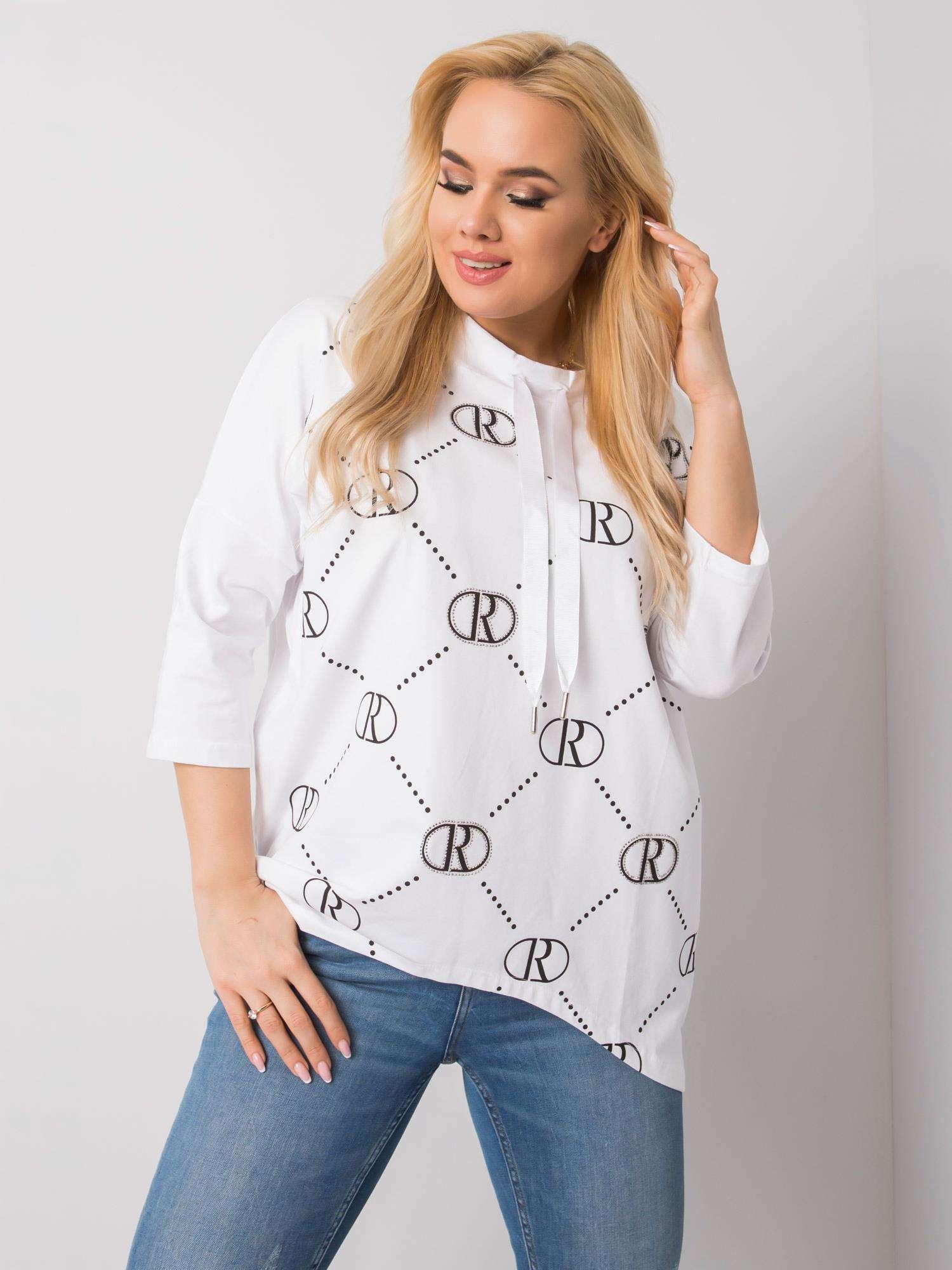 Long Shirt in Weiß mit Print Vorderansicht