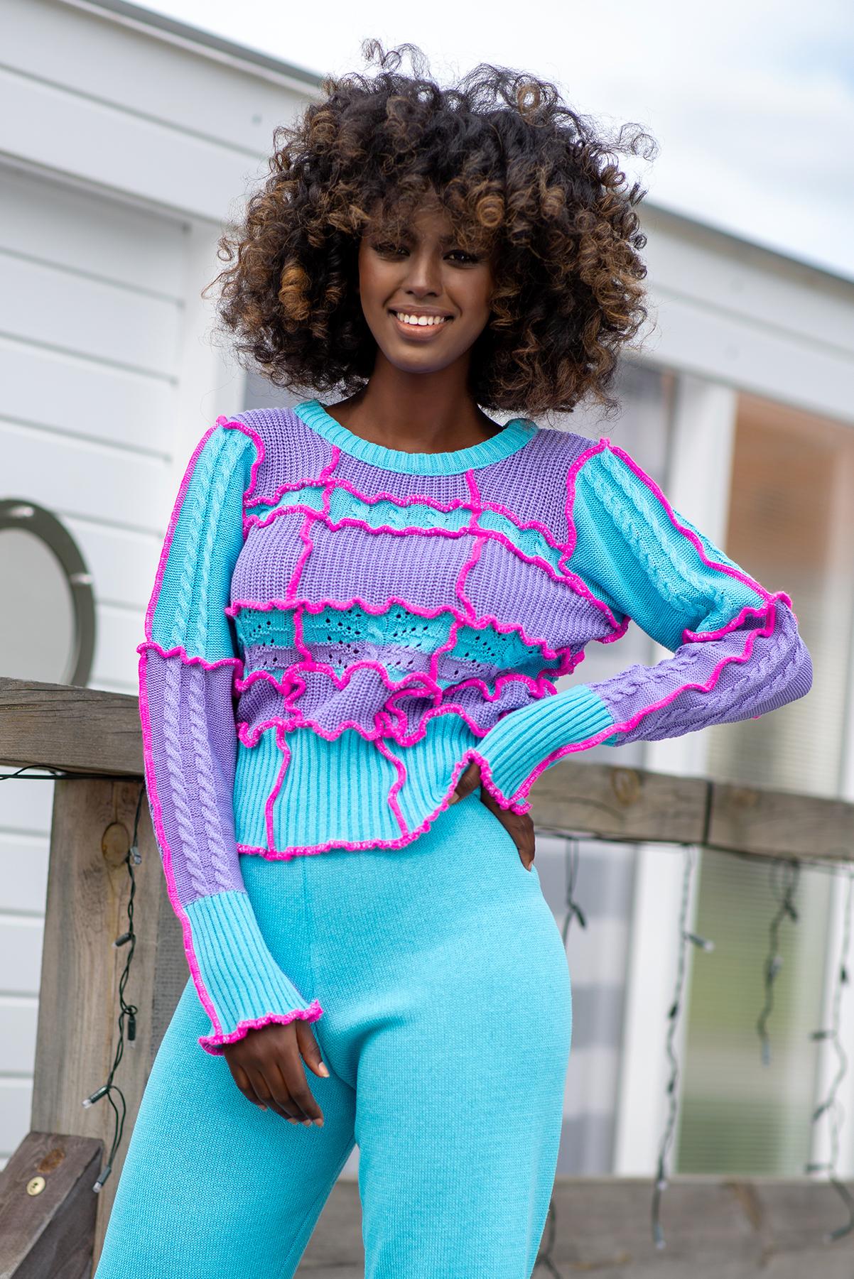 Sweater im Muster- und Farbmix Vorderansicht