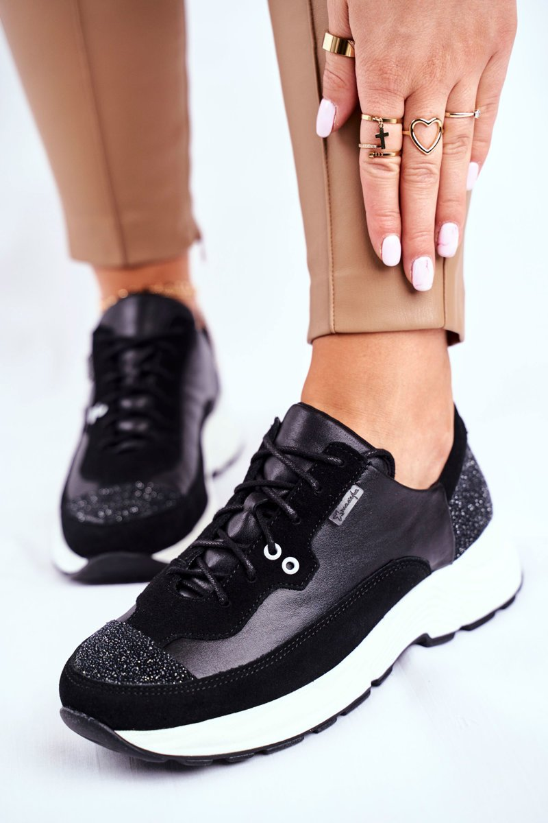 Schwarze Ledermix-Sneakers mit Glitzereinsätzen