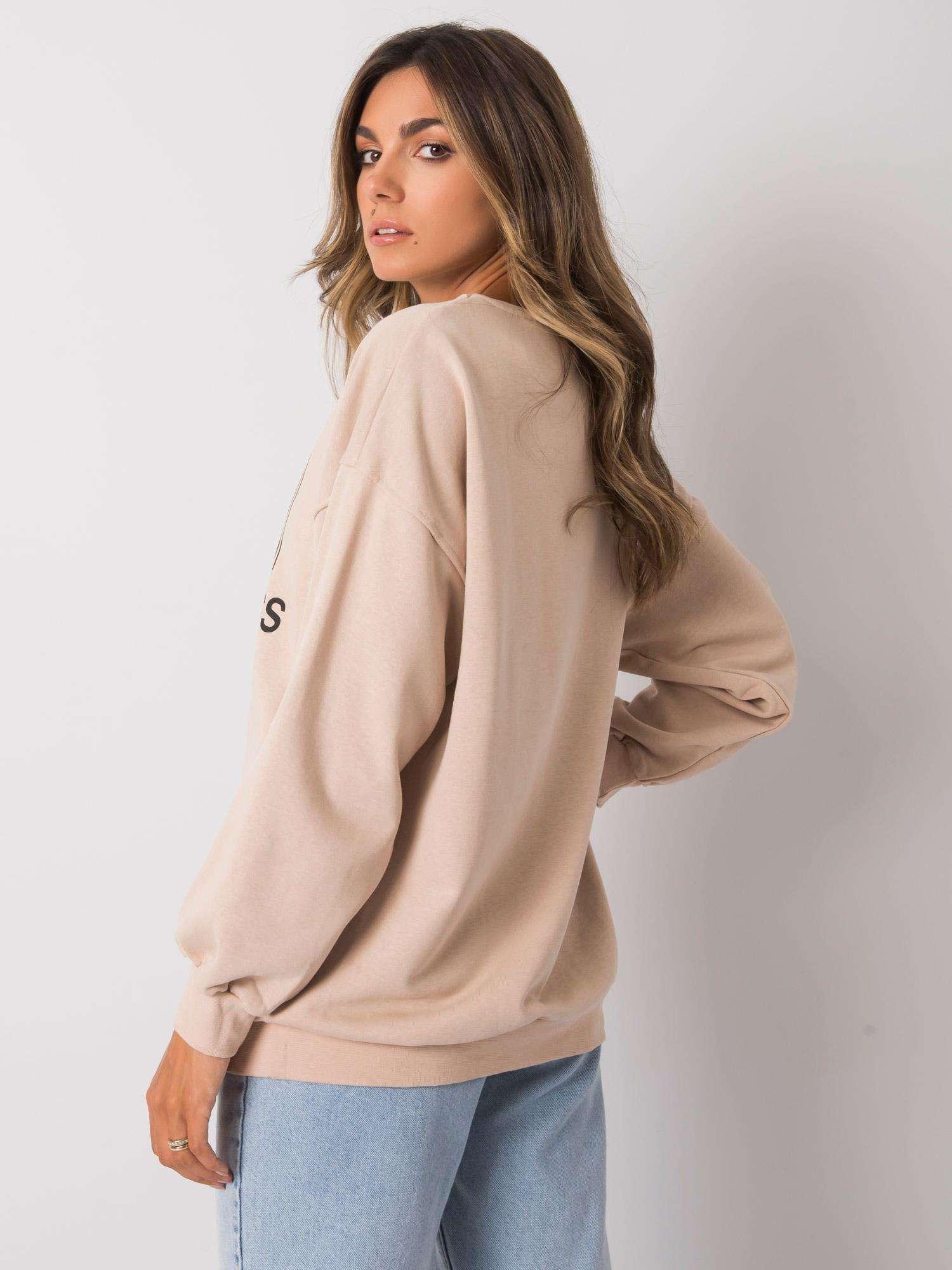 Sweatshirt in Beige mit schwarzem Frontprint Rückansicht