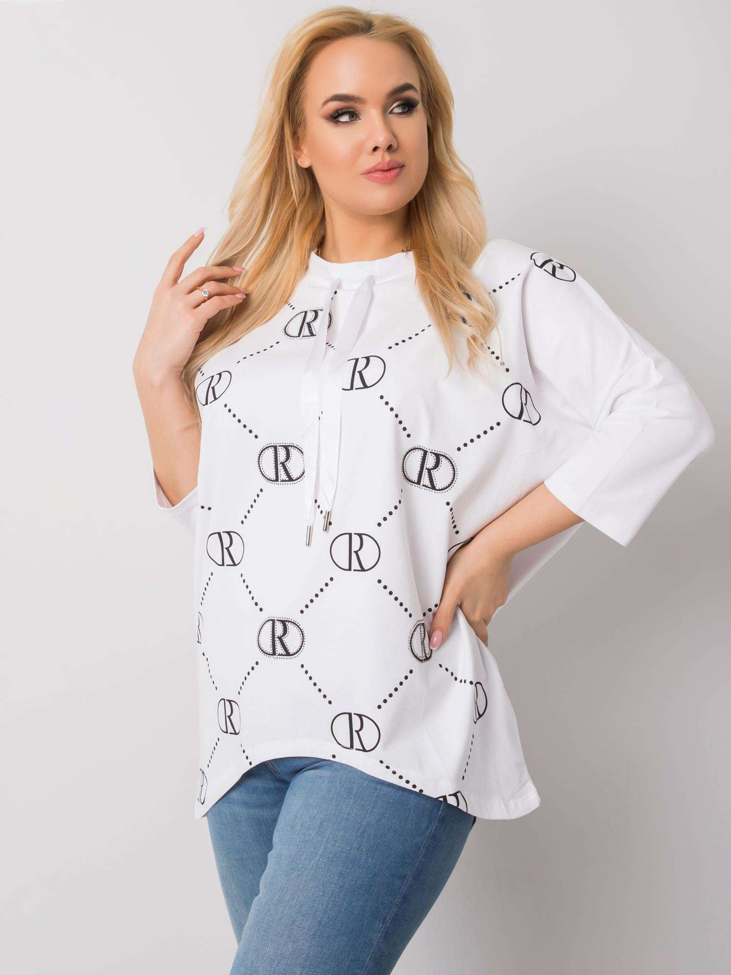Long Shirt in Weiß mit Print Seitenansicht