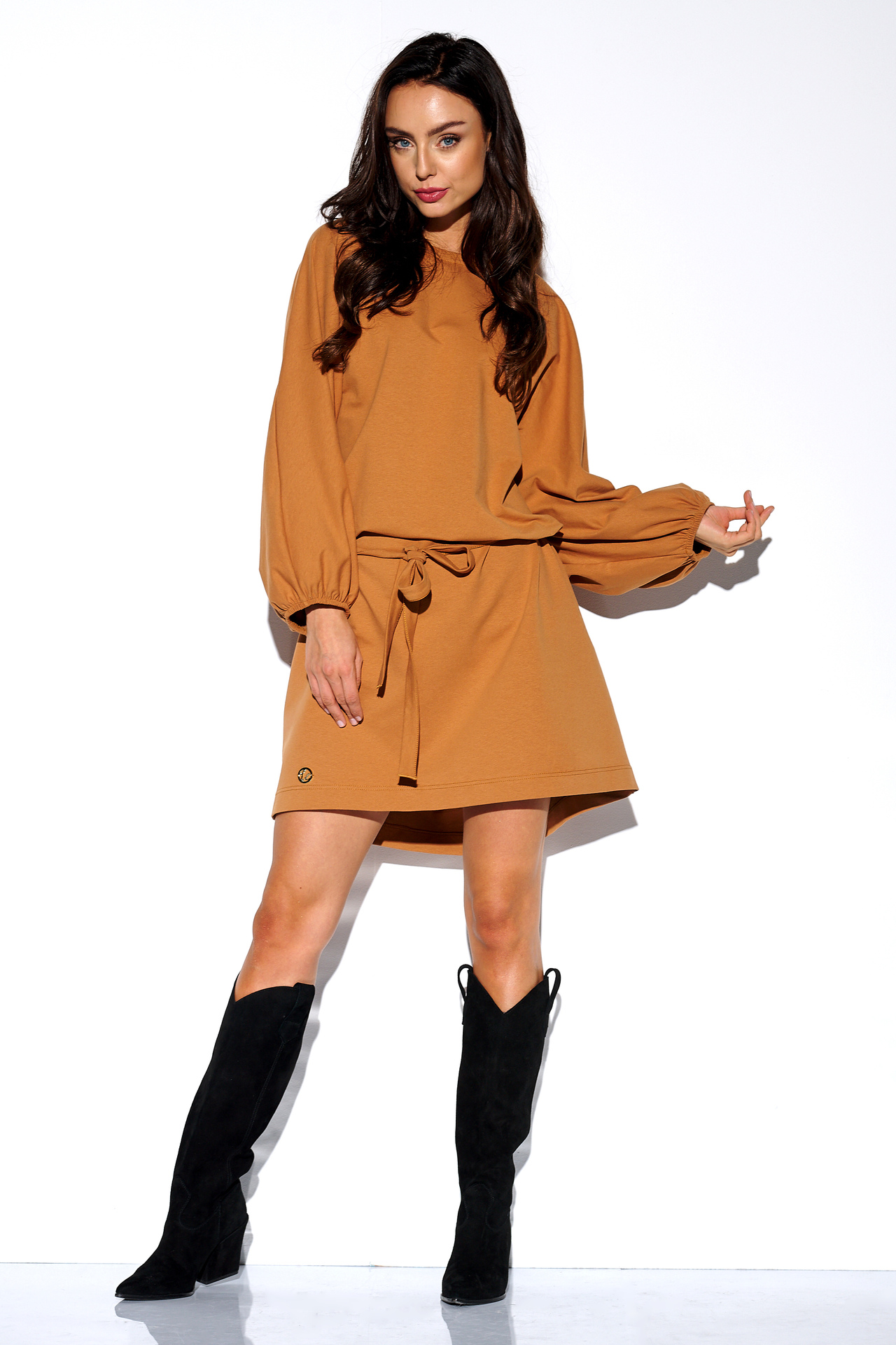 Sweatshirt Kleid in Caramel