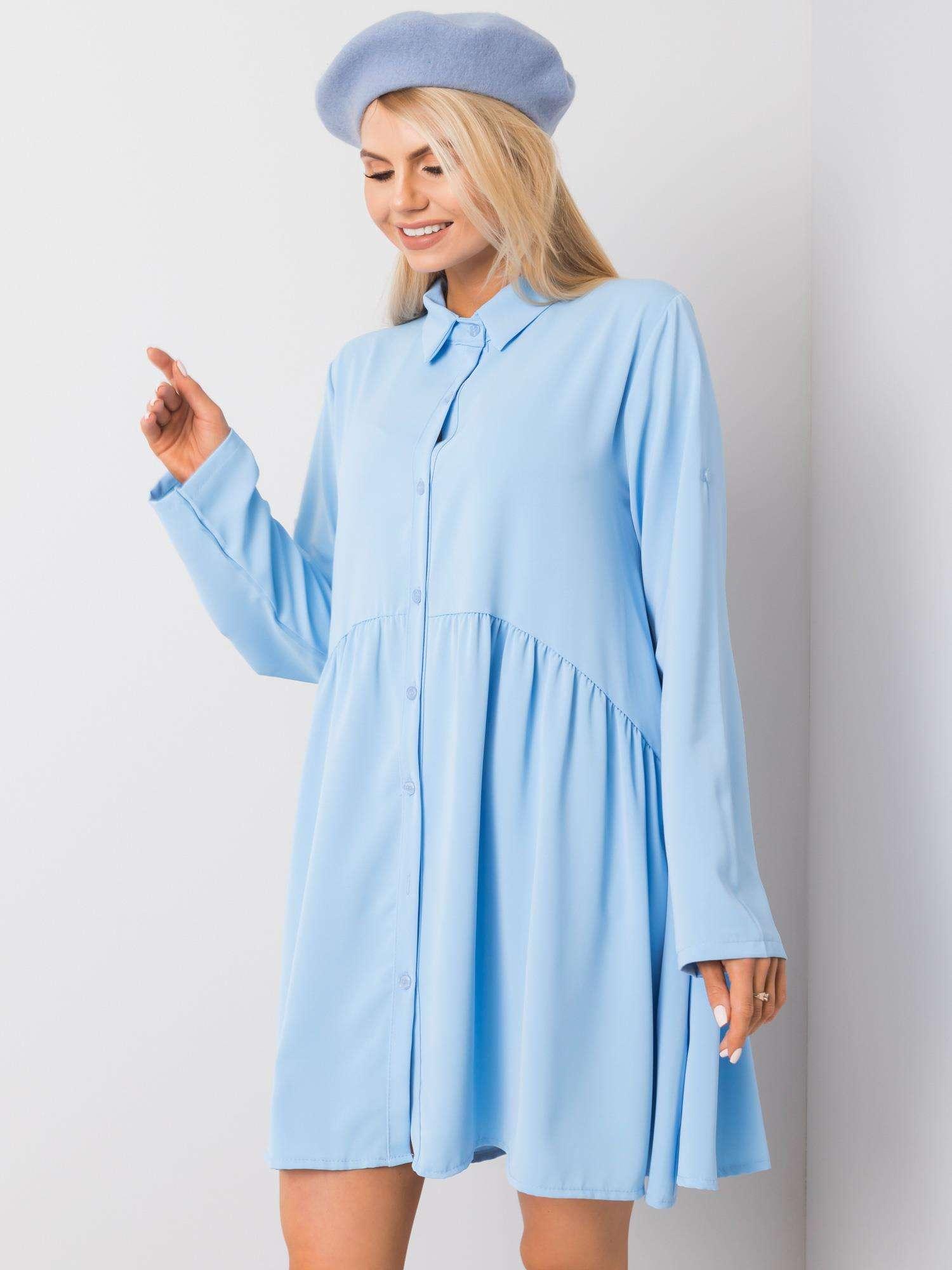 Minikleid in Hellblau Seitenansicht