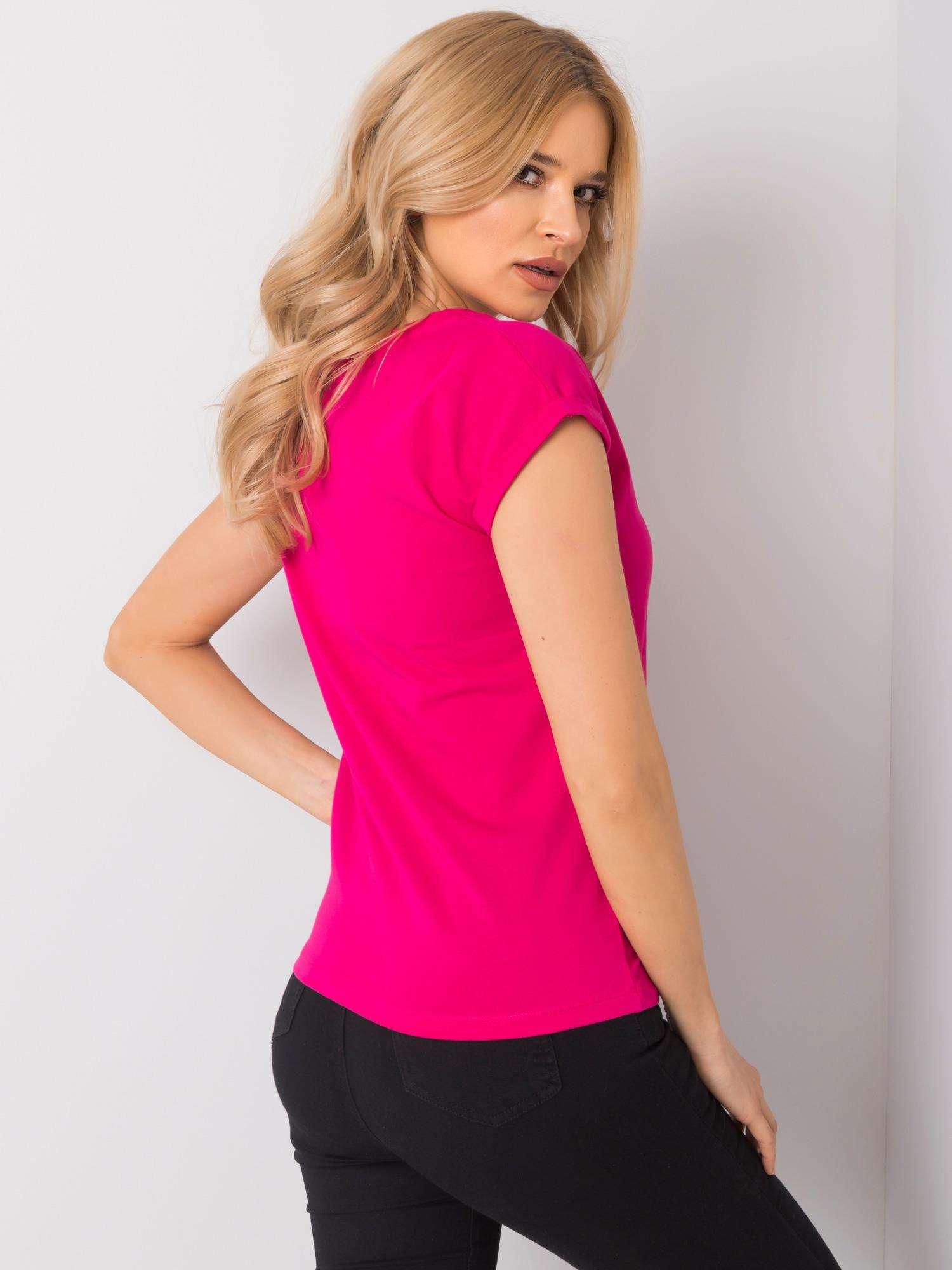 T-Shirt in Pink mit V-Ausschnitt Rückansicht
