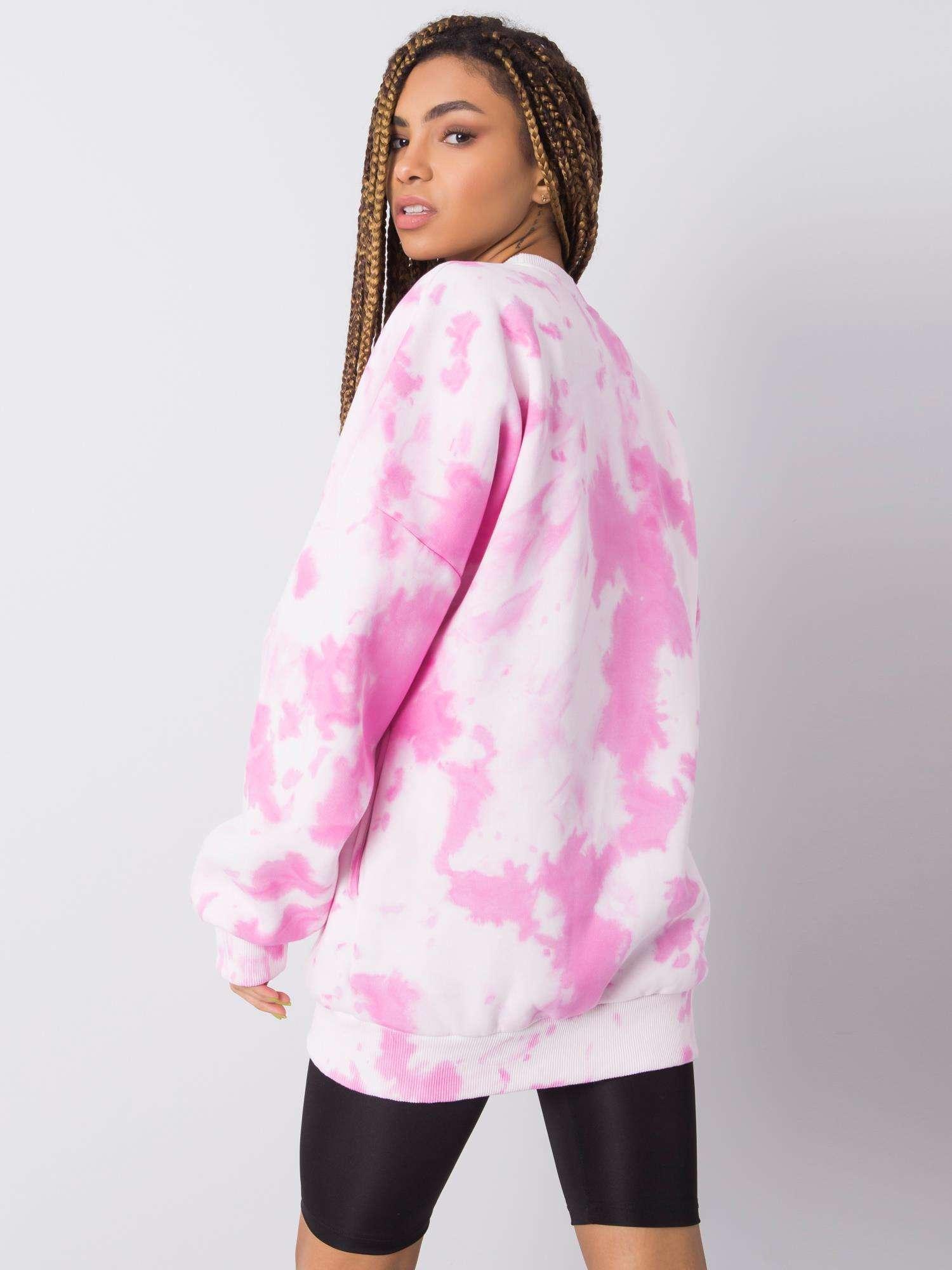 Sweatshirt in Rosa Weiß Tie-Dye Rückansicht