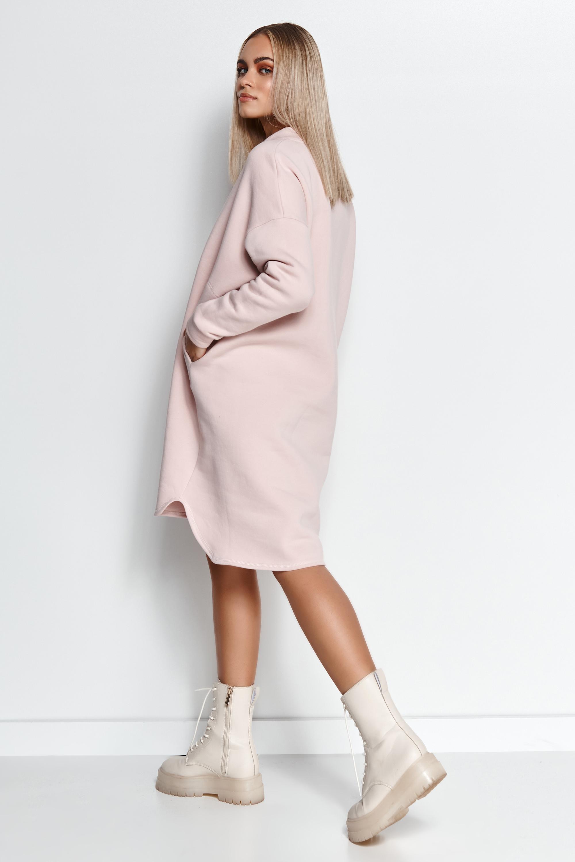 Sweatkleid Oversized geschnitten in Rosa Seitenansicht