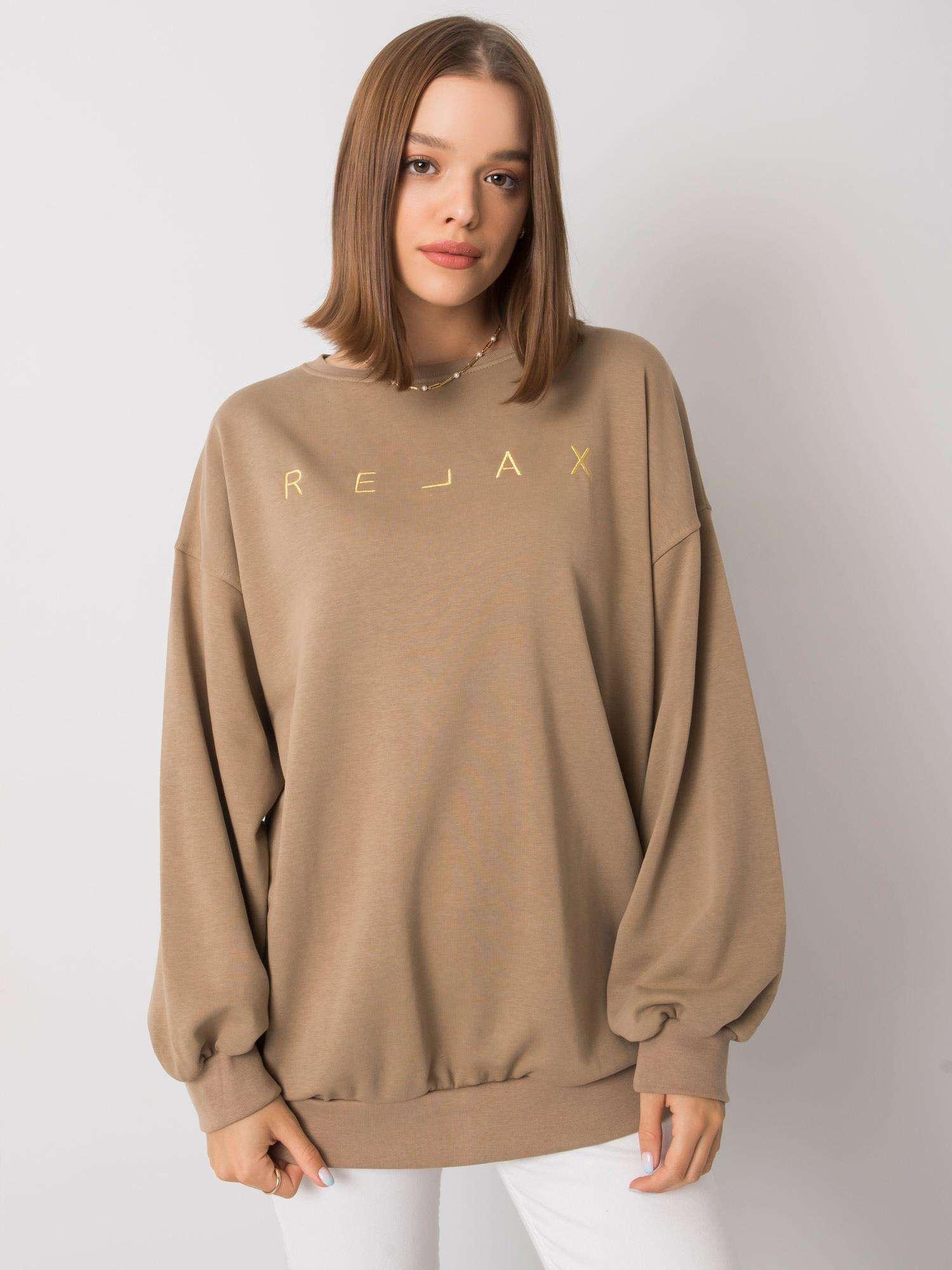 Sweatshirt in Beige mit goldener  Stickerei Vorderansicht
