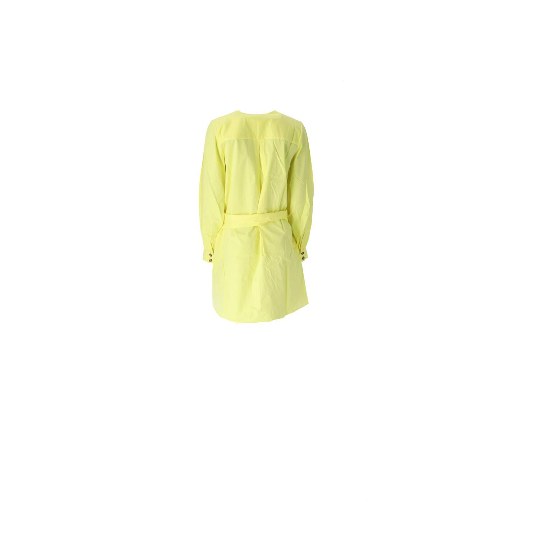 Kleid in Neongelb mit V-Ausschnitt Rückansicht