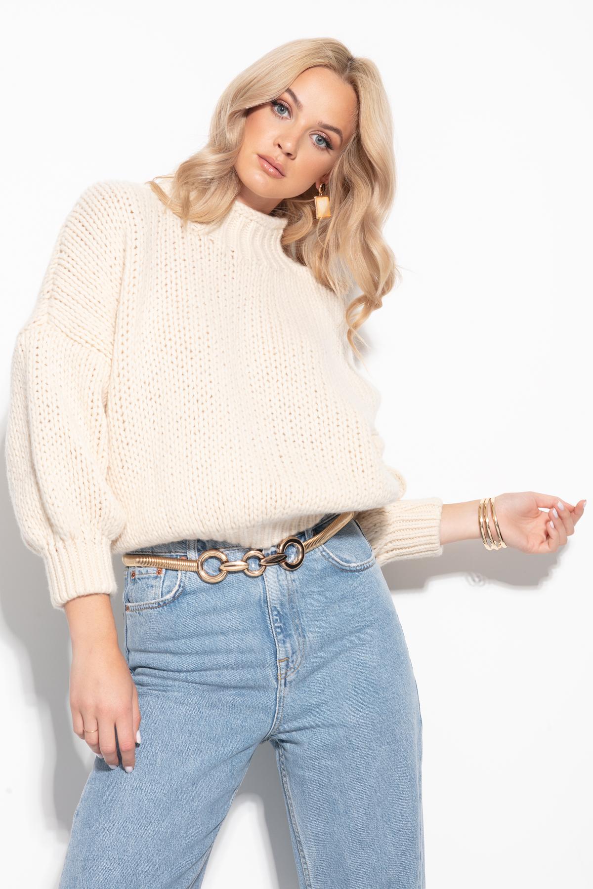 Sweater aus Cashmere-Merino in Ecru Detailansicht