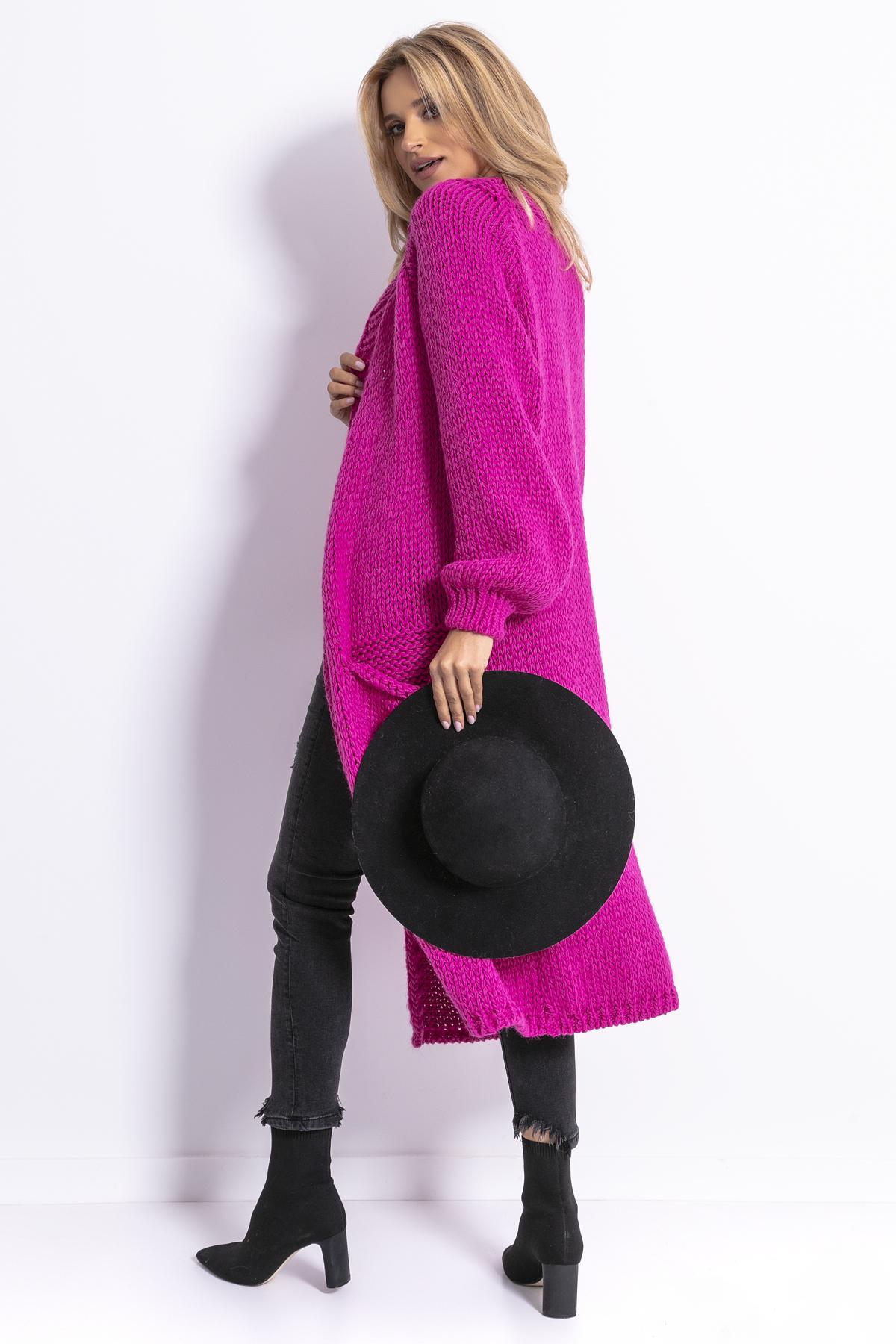 Strickcardigan in Pink mit Taschen Rückansicht