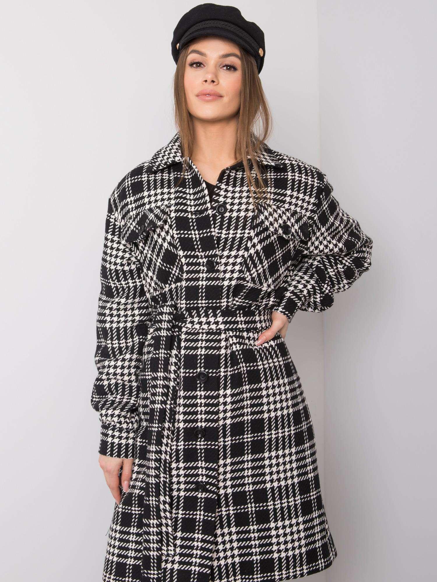 Mantel in schwarz-weiß kariert mit Hahnentrittmusterdetails Vorderansicht