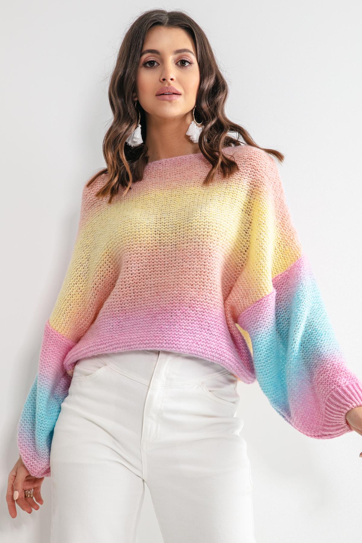 Sweater in Regenbogenfarben mit voluminösen Ärmeln Vorderansicht auseinander