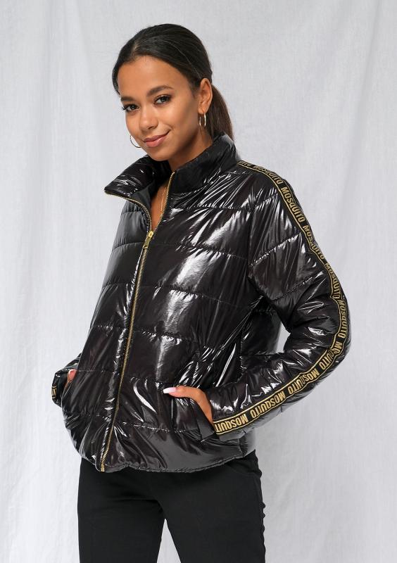 Leichte schwarze Jacke mit goldenem Logo-Streifen