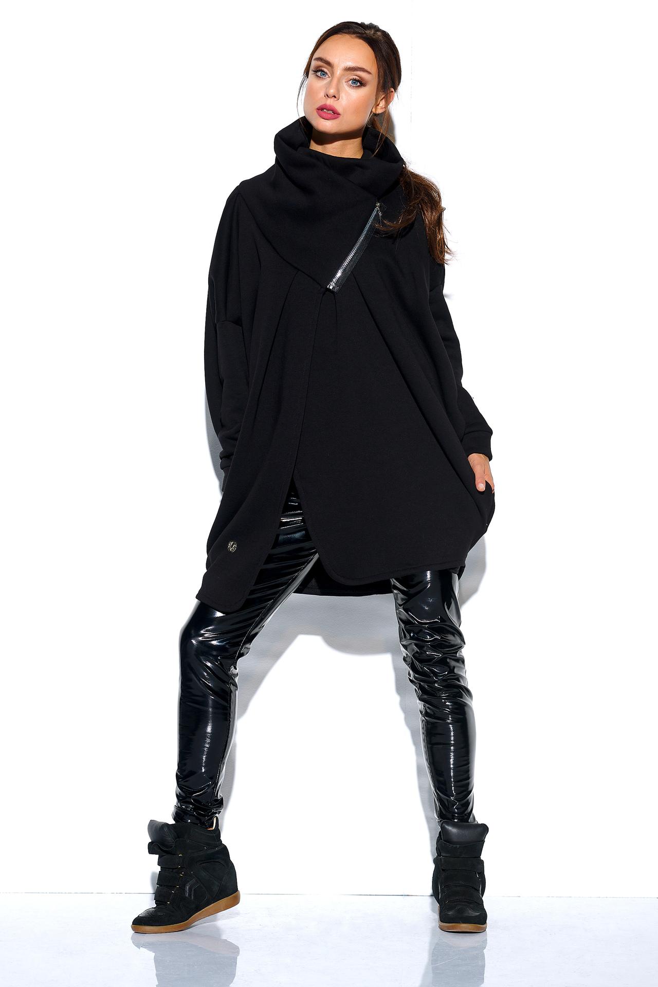 Schwarzes Oversized Sweatshirt mit Zipper