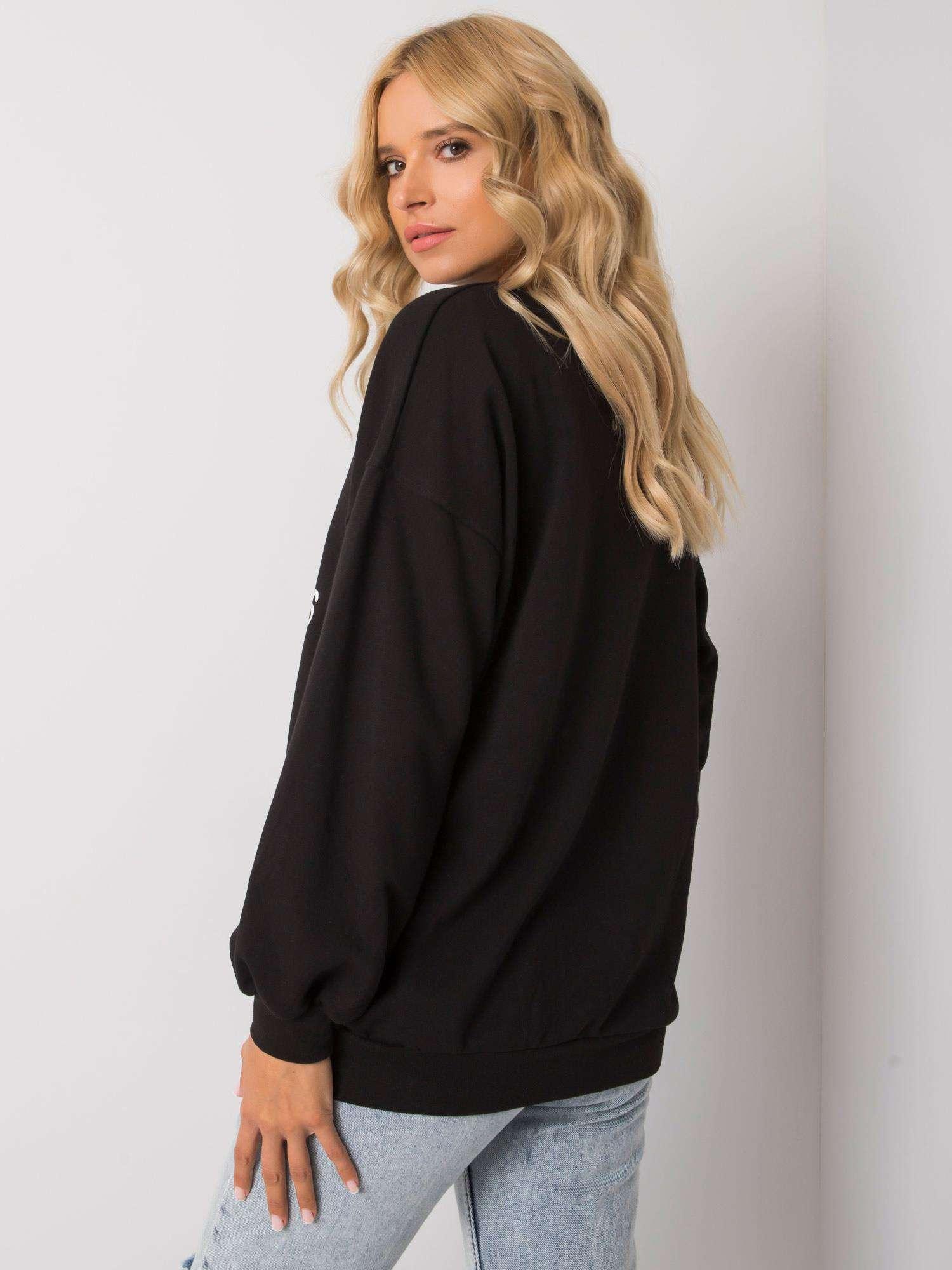 Sweatshirt in Schwarz mit weißem Frontprint Rückansicht