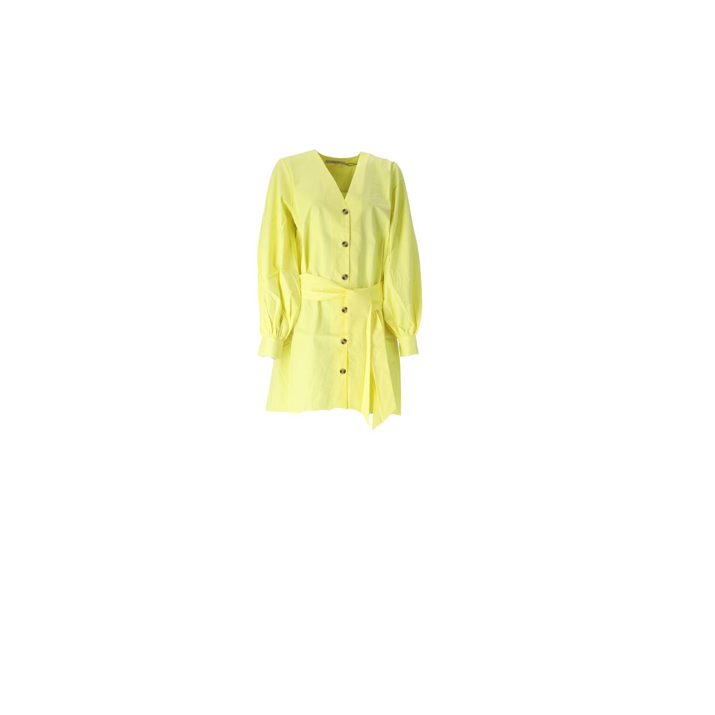 Kleid in Neongelb mit V-Ausschnitt Vorderansicht