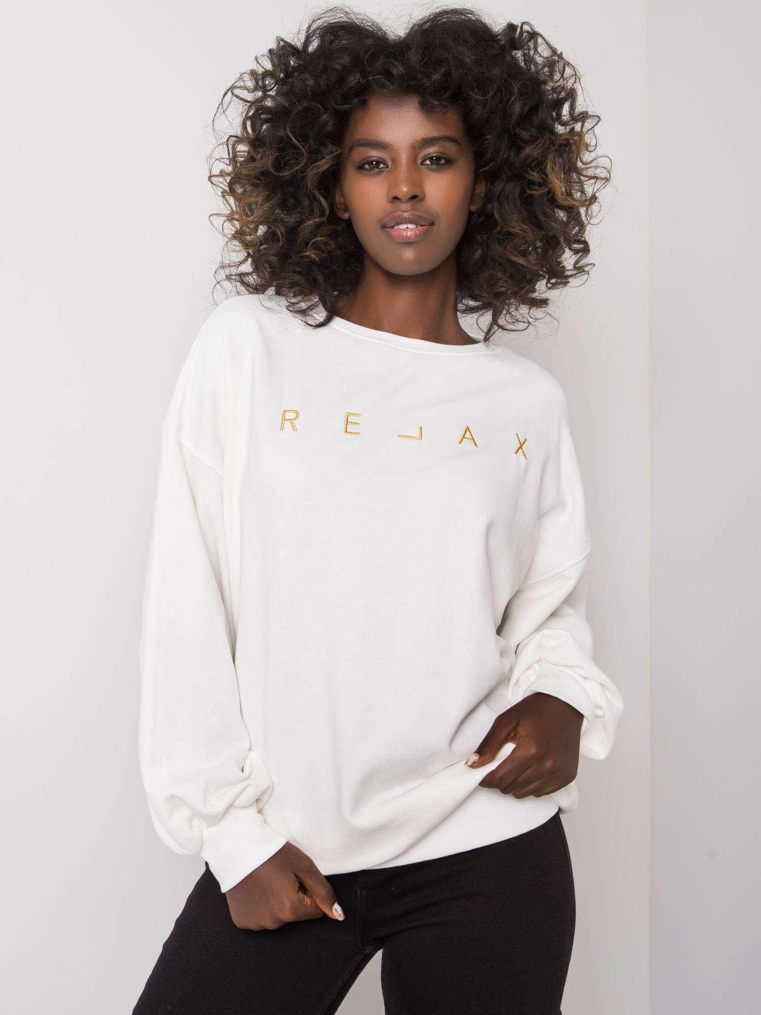 Sweatshirt in Ecru mit goldener  Stickerei Vorderansicht