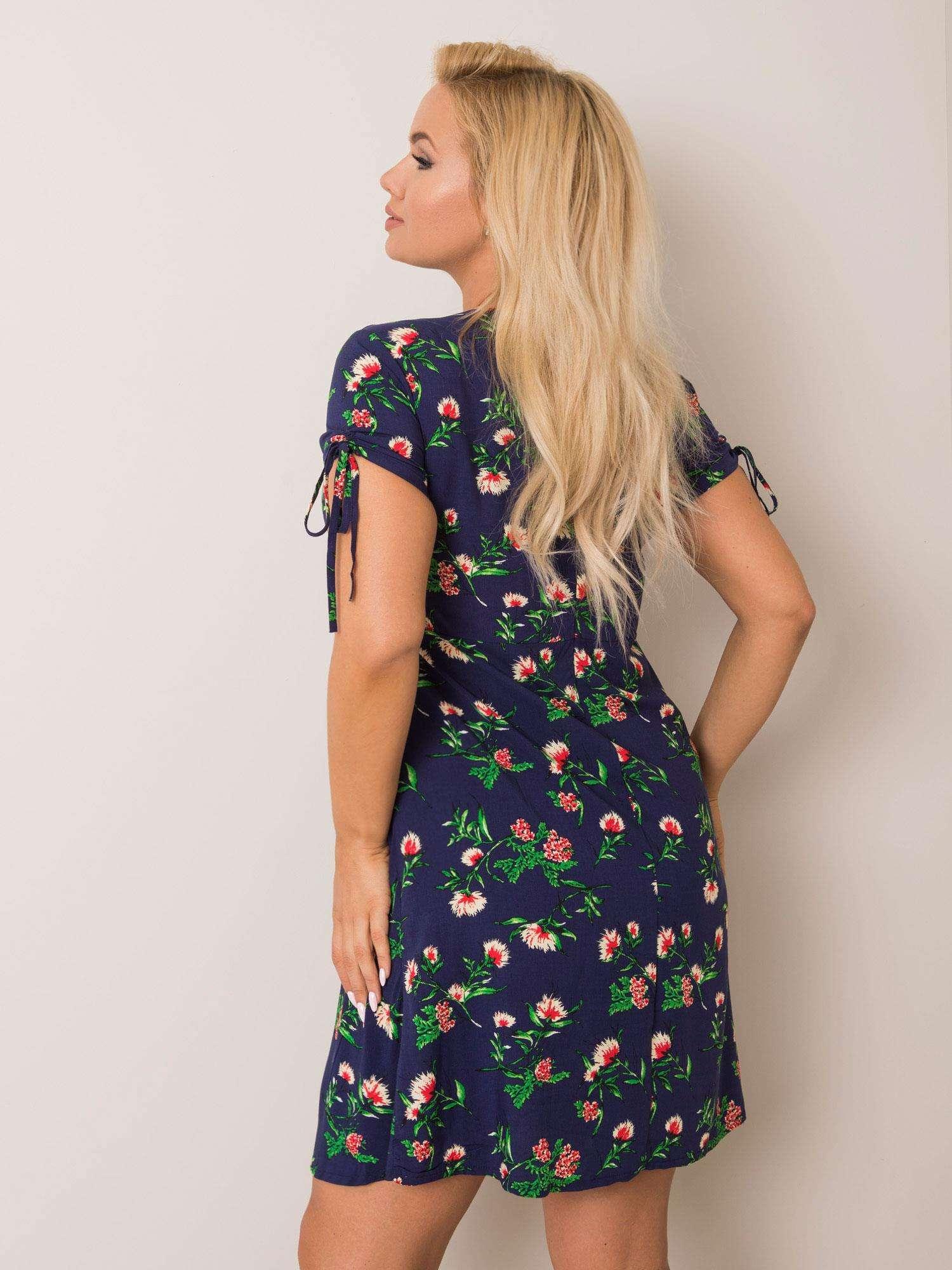 Kleid in Dunkelblau mit floralem Print Rückansicht