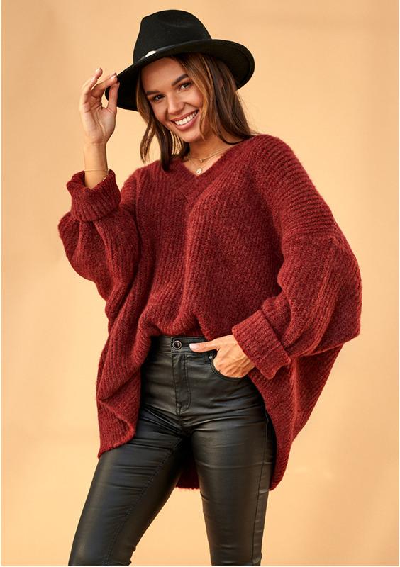 Oversized V-Neck Sweater in Burgundy