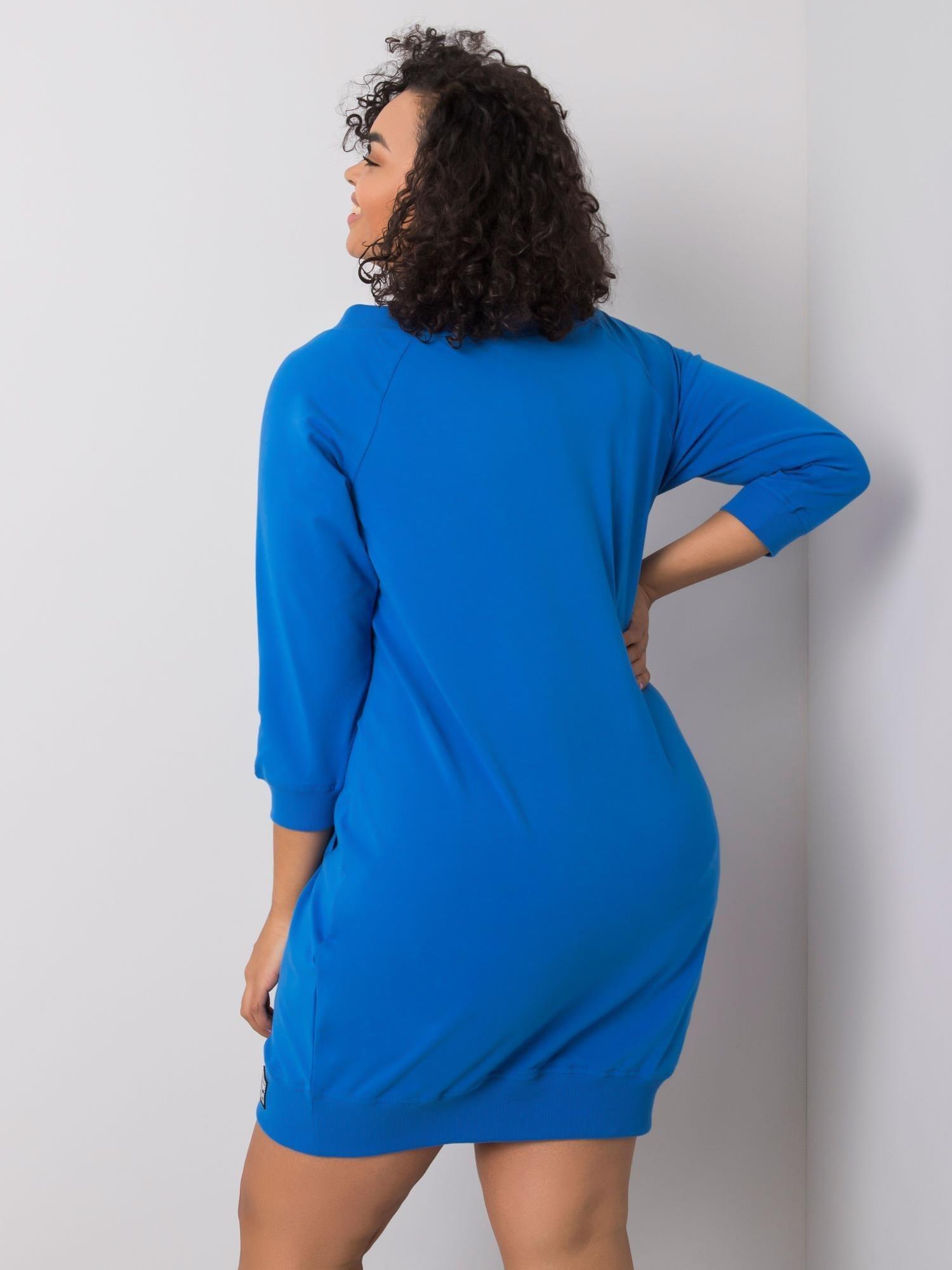 Sweatshirt Kleid in Opablau Curvy Rückansicht