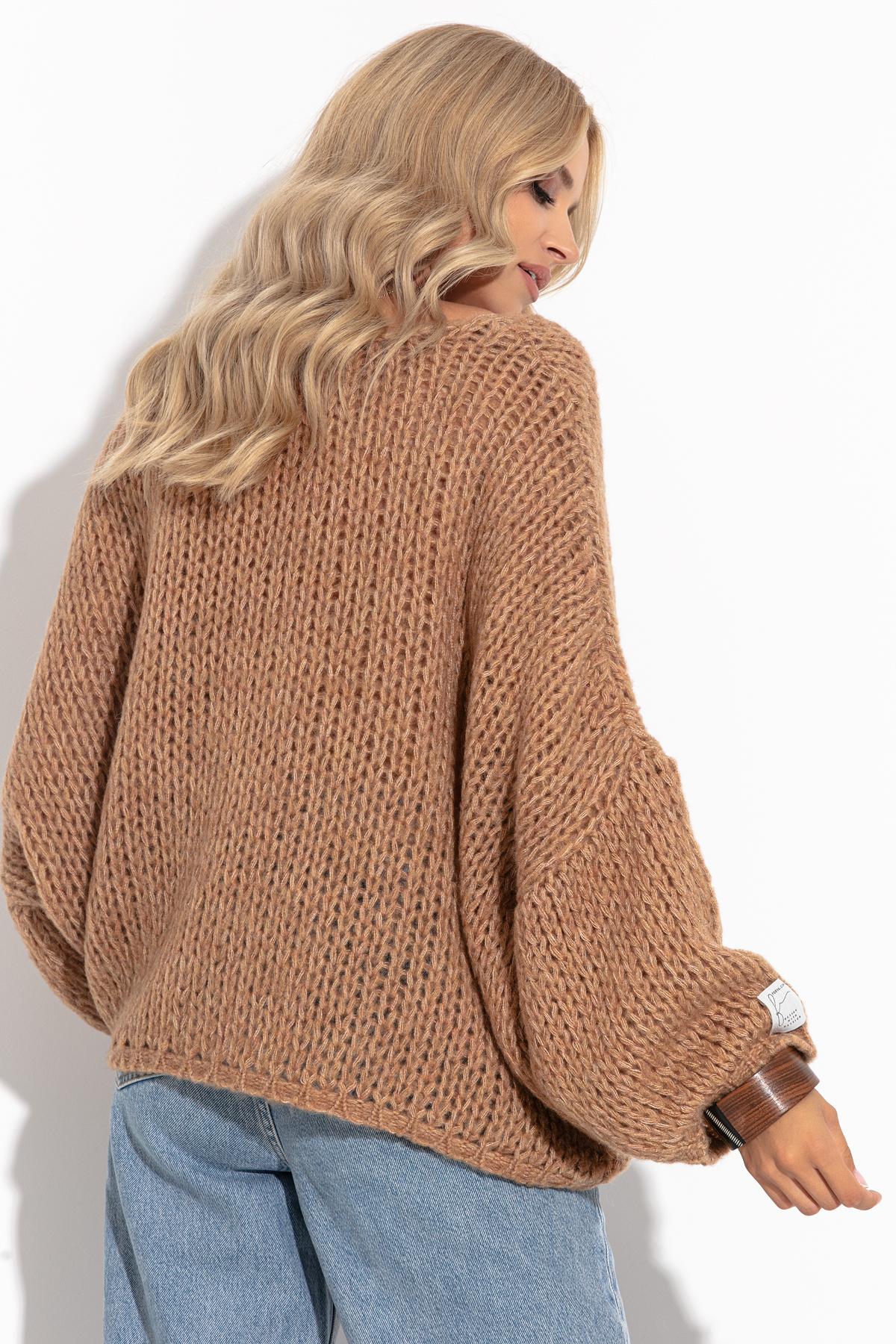 Pullover mit V-Ausschnitt in Camel Rückansicht