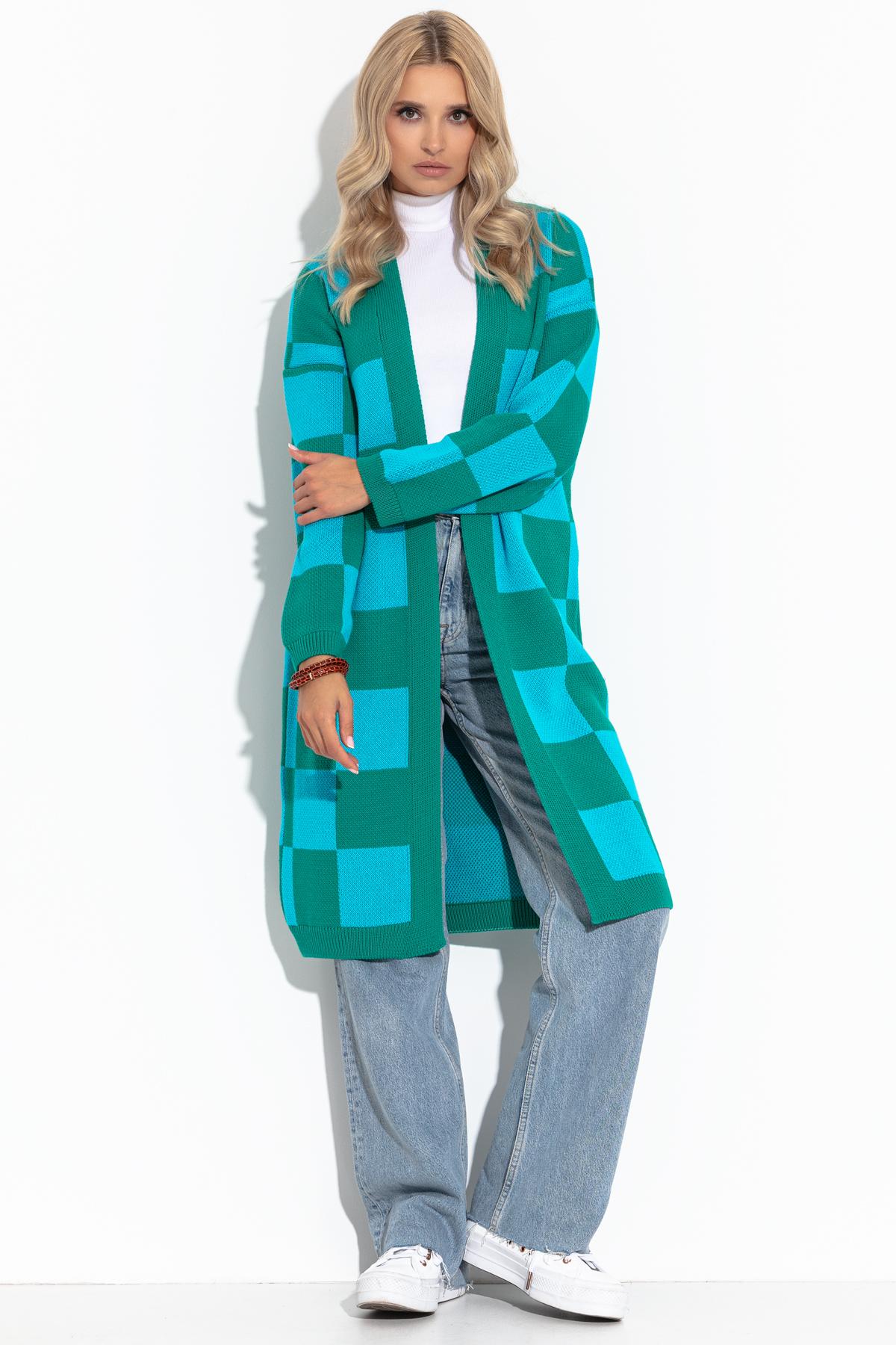 Cardigan in Lang mit blau-grünem Schachbrettmuster Vorderansicht
