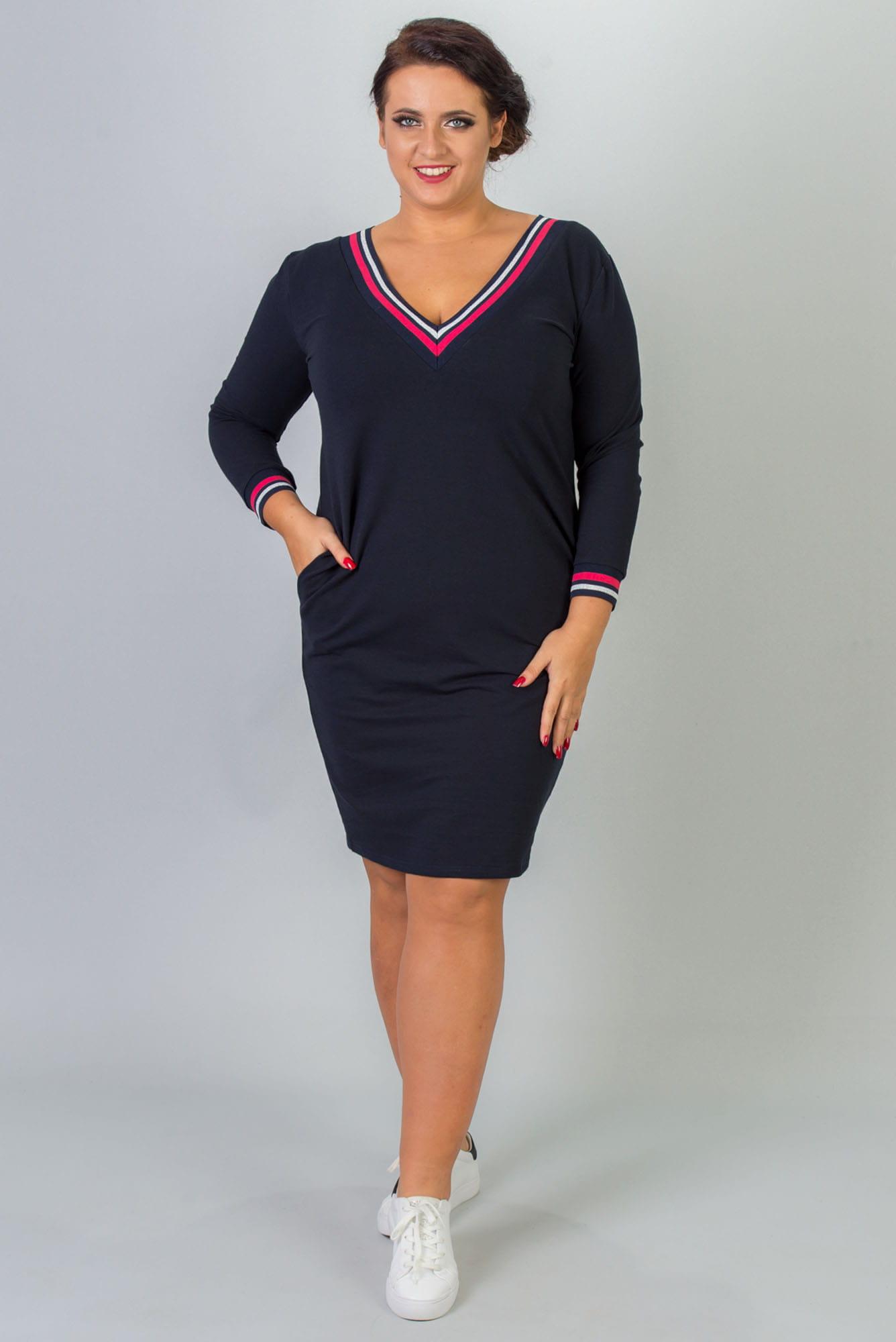 Kleid mit V-Ausschnitt in Marineblau Vorderansicht
