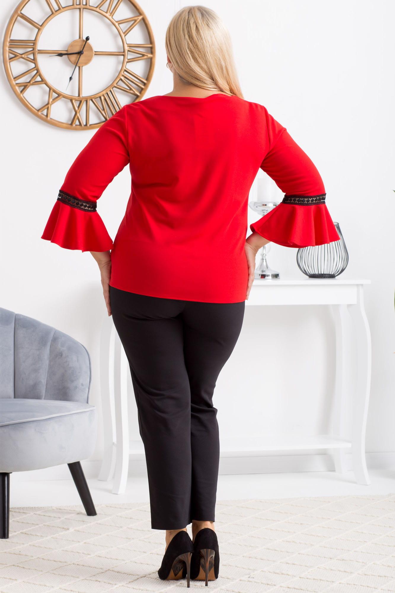 Bluse mit Trompetenärmeln in Rot Rückansicht