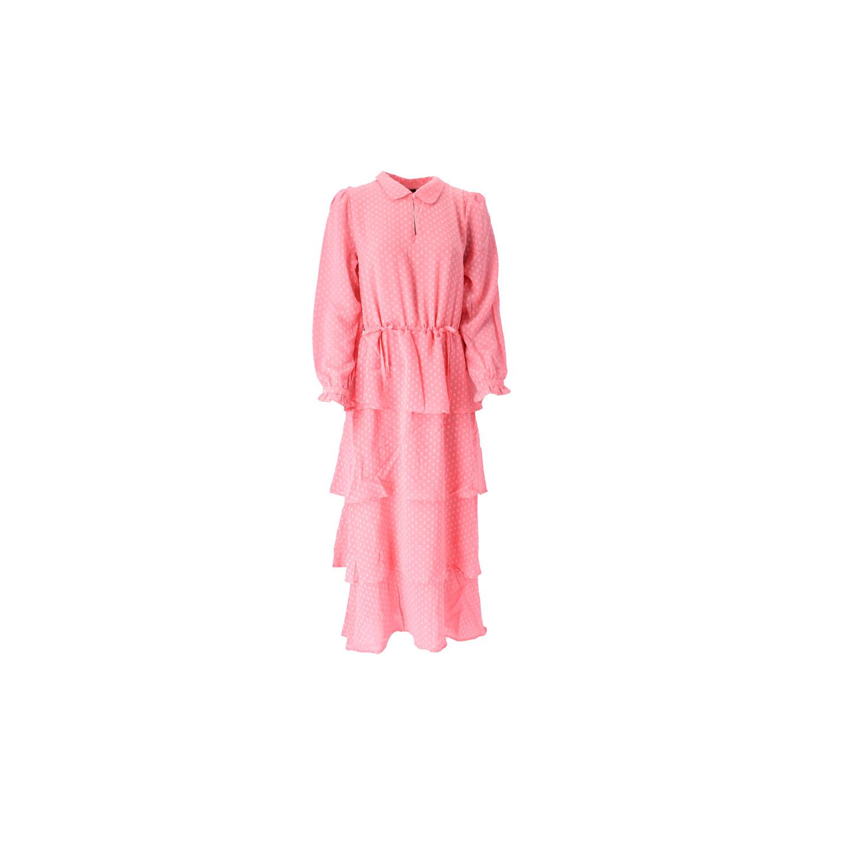 Kleid in Pink mit Stufenrock Vorderansicht