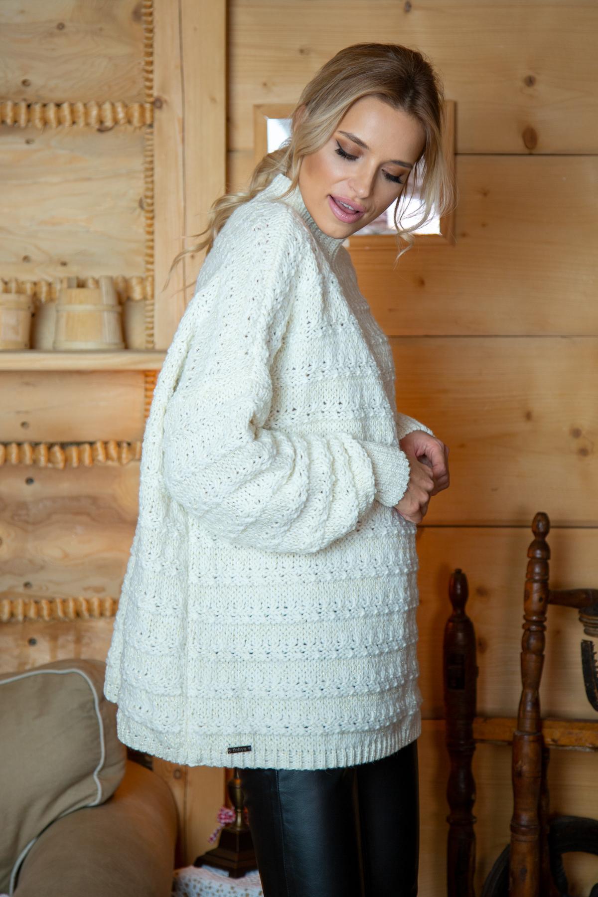 Sweater mit Stehkragen in Ecru Seitenansicht