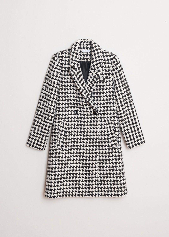 Mantel mit Hahnentrittmuster in Schwarz-Weiß Produktansicht vorne