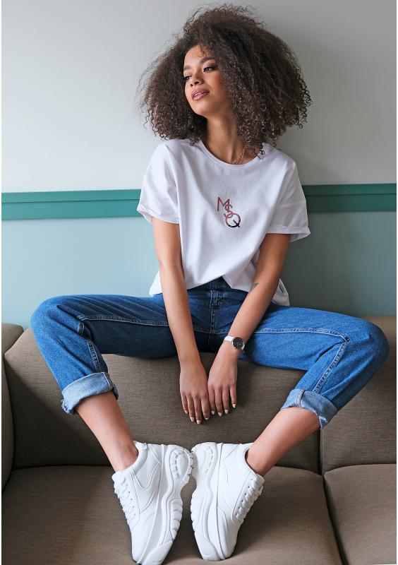 Weißes T-Shirt mit Logoprint in Rose Gold