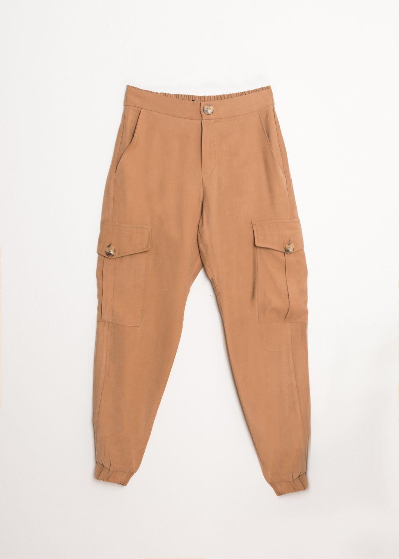 Camelfarbene Cargo Hose mit Taschen