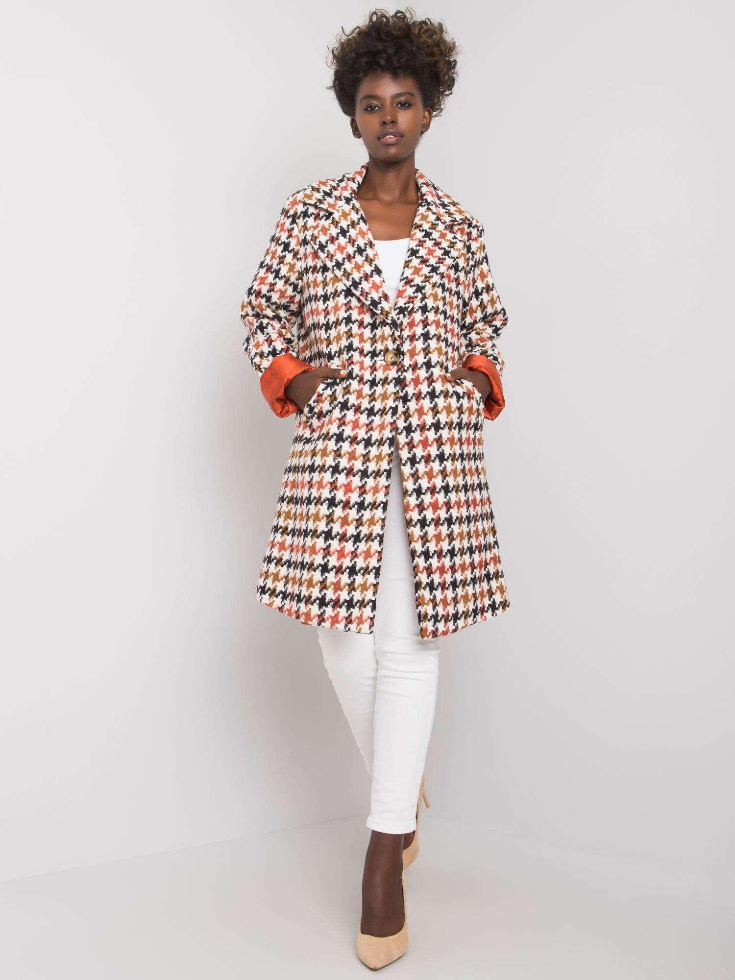 Mantel in Weiß-braun mit Hahnentrittmuster Vorderansicht komplett