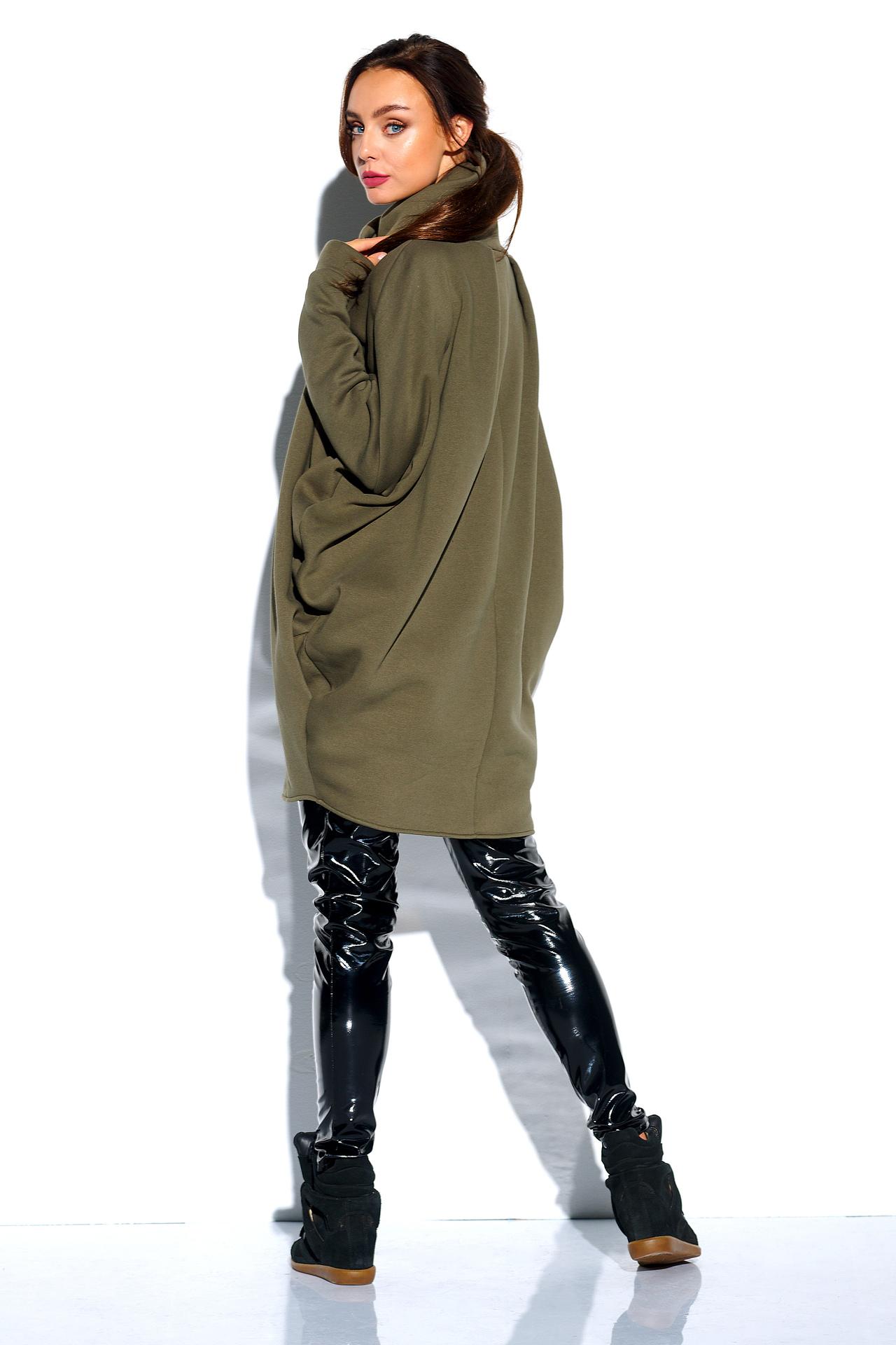 Oversized Sweatshirt in Khaki mit Zipper