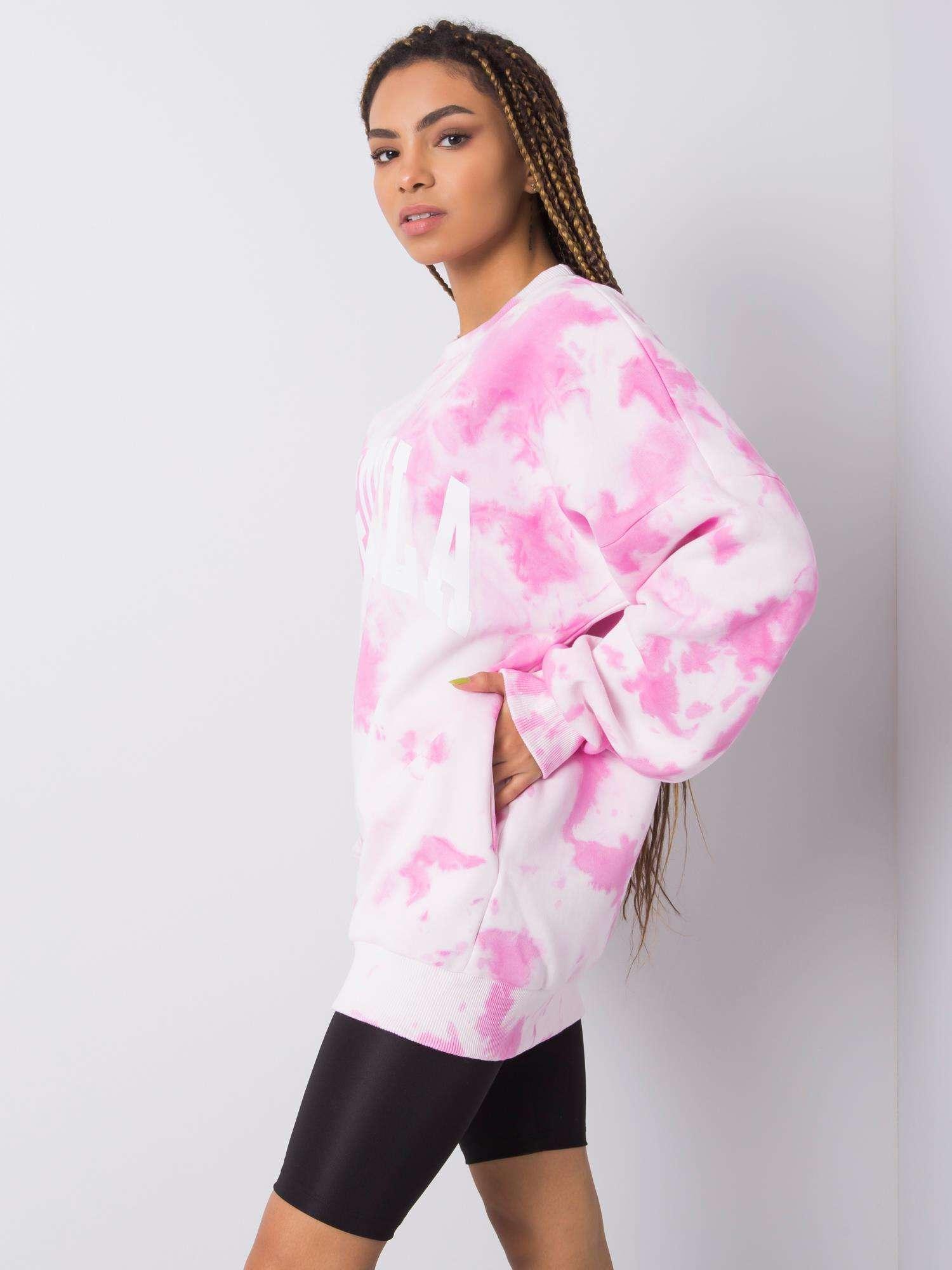 Sweatshirt in Rosa Weiß Tie-Dye Seitenansicht